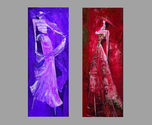 Модульная картина Дамы, 2 части, смешанная техника, холст, подрамник, жикле, акрил, общий размер - 70х60 см, автор Светлана СергееваM3 (70х60)Модульная картина Дамы отлично подойдет для украшения какого-либо ателье, магазина одежды или просто дамской комнаты. Спокойные, некричащие цвета действуют успокаивающе, умиротворяют. Картина небольшая, состоит из двух частей и не потребует много места для расположения. Работы выполнены на холсте, акриловые краски придают дополнительный объем и шарм. Галерейная натяжка на подрамник. При желании можно оформить картины в рамы. Получится интересный стильный диптих. холст, акрил, деревянный подрамник Внимание!!! Так как это ручная работа, рисунок может слегка отличаться от представленного на фото образца.