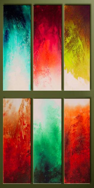 Модульная картина Композиция №3, 6 частей, смешанная техника, холст, подрамник, жикле, акрил, общий размер - 200х100 см, автор Светлана СергееваM5 (200х100)Необычная вертикальная модульная картина Композиция №3 состоит из 6 частей. Если у вас в доме или офисе есть большая стена и вы не знали как ее украсить, а обычные типичные картинки не вызывают у вас энтузиазма, то это то, что вам нужно. Красивое яркое сочетание цветов. Объем за счет прописи акриловыми красками, легкий блеск от покрытия лаком, все это сделает ваш интерьер наиболее стильным, придаст ему индивидуальность, необычность. Работа выполнена на натуральном холсте, деревянный подрамник, галерейная натяжка. Дополнительныекрепления не требуются, модули вешаются на гвозди, таким образом, чтобы близко прилегать к стене. Хотя при желании, вы можете использовать обычные крепления для рам. холст, акрил, деревянный подрамник Внимание!!! Так как это ручная работа, рисунок может слегка отличаться от представленного на фото образца.