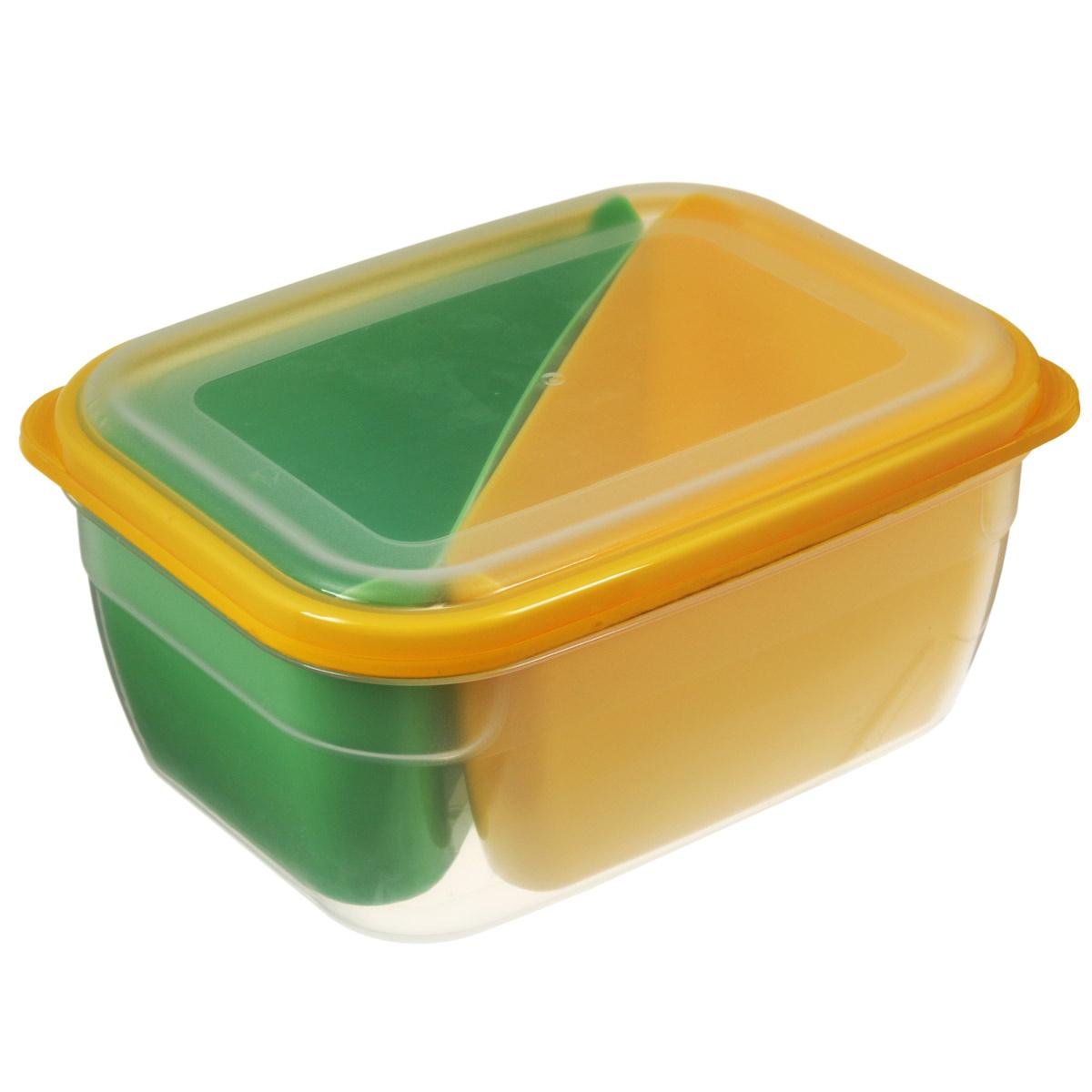 Контейнер-менажница для СВЧ Полимербыт, цвет: зеленый, желтый, 1,8 лС56401Контейнер-менажница для СВЧ Полимербыт изготовлен из высококачественного прочного пластика, устойчивого к высоким температурам (до +120°С). Крышка плотно закрывается, дольше сохраняя продукты свежими и вкусными. Контейнер снабжен 2 цветными секциями, которые позволяют хранить сразу несколько продуктов или блюд. Он идеально подходит для хранения пищи, его удобно брать с собой на работу, учебу, пикник или просто использовать для хранения пищи в холодильнике.Можно использовать в микроволновой печи и для заморозки в морозильной камере. Можно мыть в посудомоечной машине. Размер секции: 9 см х 18,5 см х 7,5 см.Размер контейнера: 19,5 см х 14,5 см х 9 см.