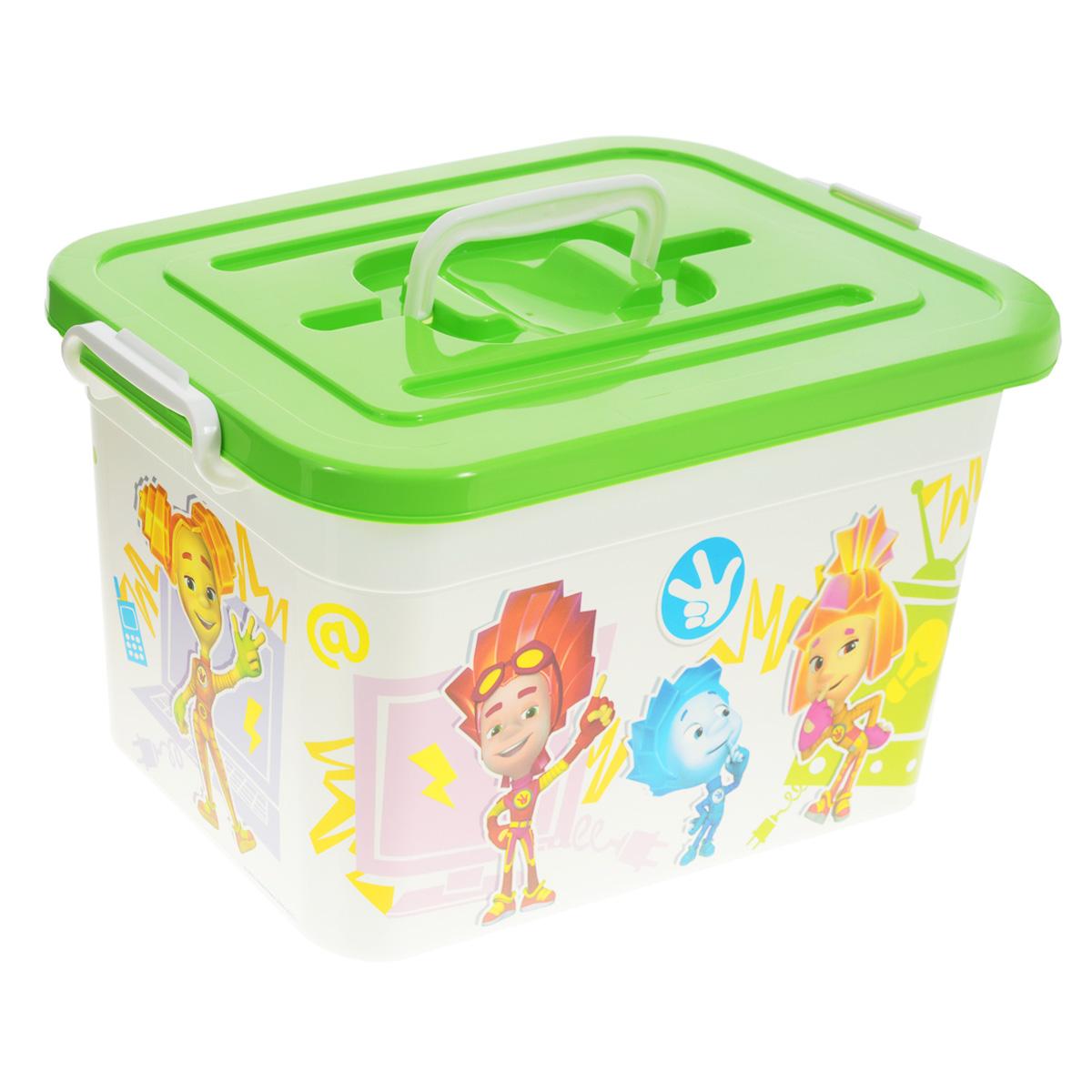 Ящик для игрушек Полимербыт Фиксики, цвет: салатовый, 10 л ящик для игрушек me to you с ручкой новогодний 2 л