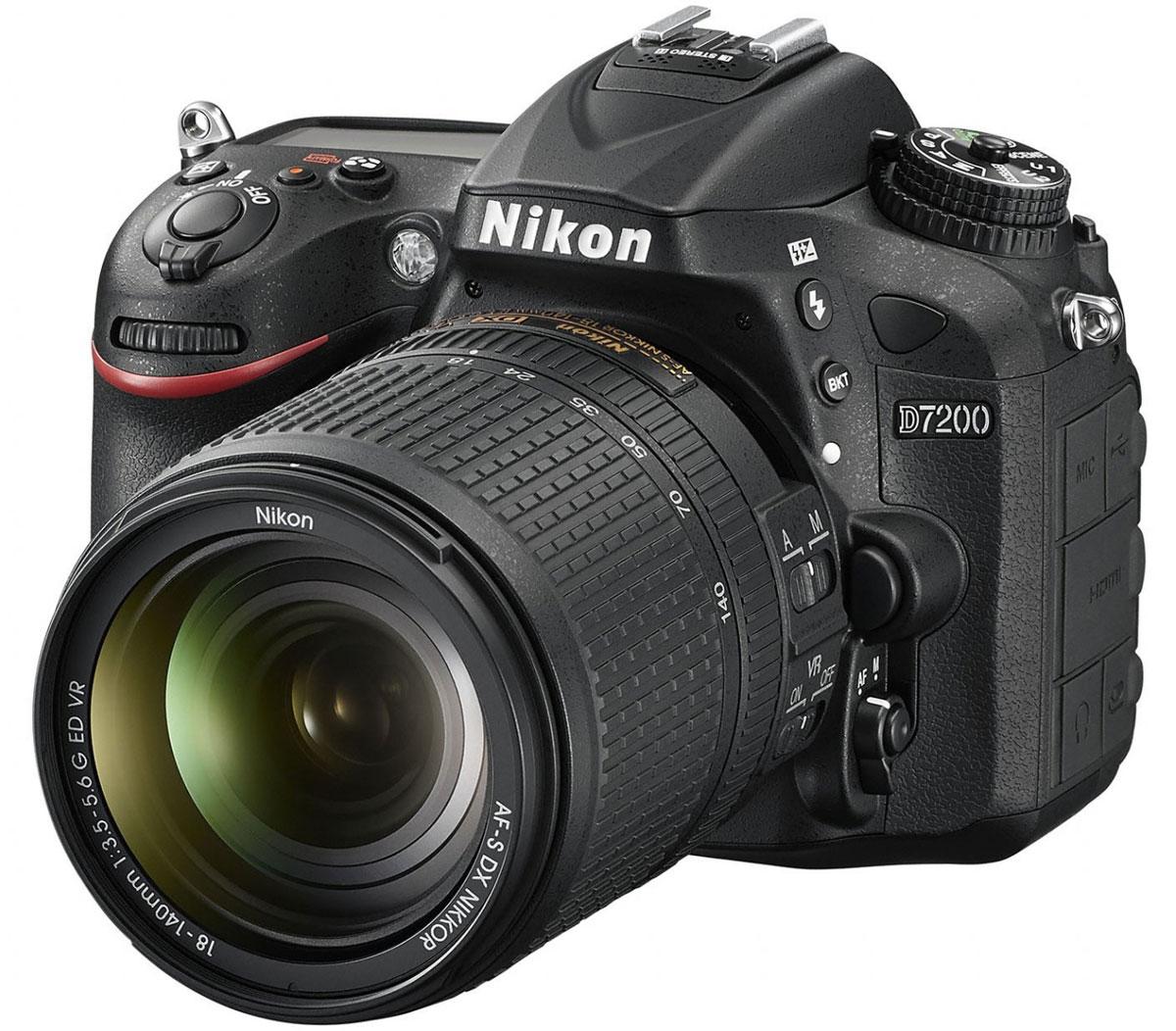 Nikon D7200 Kit 18-140 VR, Black цифровая зеркальная фотокамераVBA450KR01Совершенствуйте искусство фотографии с инновационной фотокамерой Nikon D7200. Эта цифровая зеркальная фотокамера формата DX гарантирует получение превосходных резких изображений и видео в отличном качестве, а также предоставляет все возможности для связи. Nikon D7200 - универсальная модель с быстрым откликом, которая превосходит любые ожидания.Реальность превосходит ожиданияНевероятная детализация изображений с 24,2-мегапиксельной матрицей: создавайте фотографии с совершенно новым уровнем качества. Фотокамера D7200 оснащена матрицей формата DX с разрешением 24,2 мегапикселя, в конструкции которой не используется оптический низкочастотный фильтр (OLPF), что позволяет в полной мере реализовать потенциал матрицы для создания неизменно резких изображений в широком динамическом диапазоне, с низким уровнем шума и насыщенными цветами.АФ профессионального уровняБлагодаря лучшей в своем классе системе АФ фотокамера D7200 фокусируется с невероятной точностью. Чувствительность, сохраняющаяся до -3 EV, позволяет выполнить «захват» объекта даже в условиях недостаточного освещения.Создавайте четкие и детализированные снимки при высоких значениях чувствительности ISO. Используя стандартный диапазон 100-25 600 единиц ISO, можно без труда выполнять съемку при обычном освещении. Снимайте яркие эпизоды без малейших усилий. Легкая фотокамера D7200, оснащенная набором функций видео, которые используются в профессиональных фотокамерах Nikon, идеально подойдет тем, кто увлекается видеосъемкой.Поделитесь своим видениемВстроенная поддержка технологий Wi-Fi и NFC (беспроводной связи ближнего радиуса действия) упрощает передачу впечатляющих снимков через интеллектуальное устройство.Прочность и долговечностьКорпус фотокамеры имеет защиту от пыли, брызг и непогоды, так что эту фотокамеру можно использовать для съемки в самых неблагоприятных условиях. При изготовлении верхней и задней крышки корпуса применен магниевый сплав