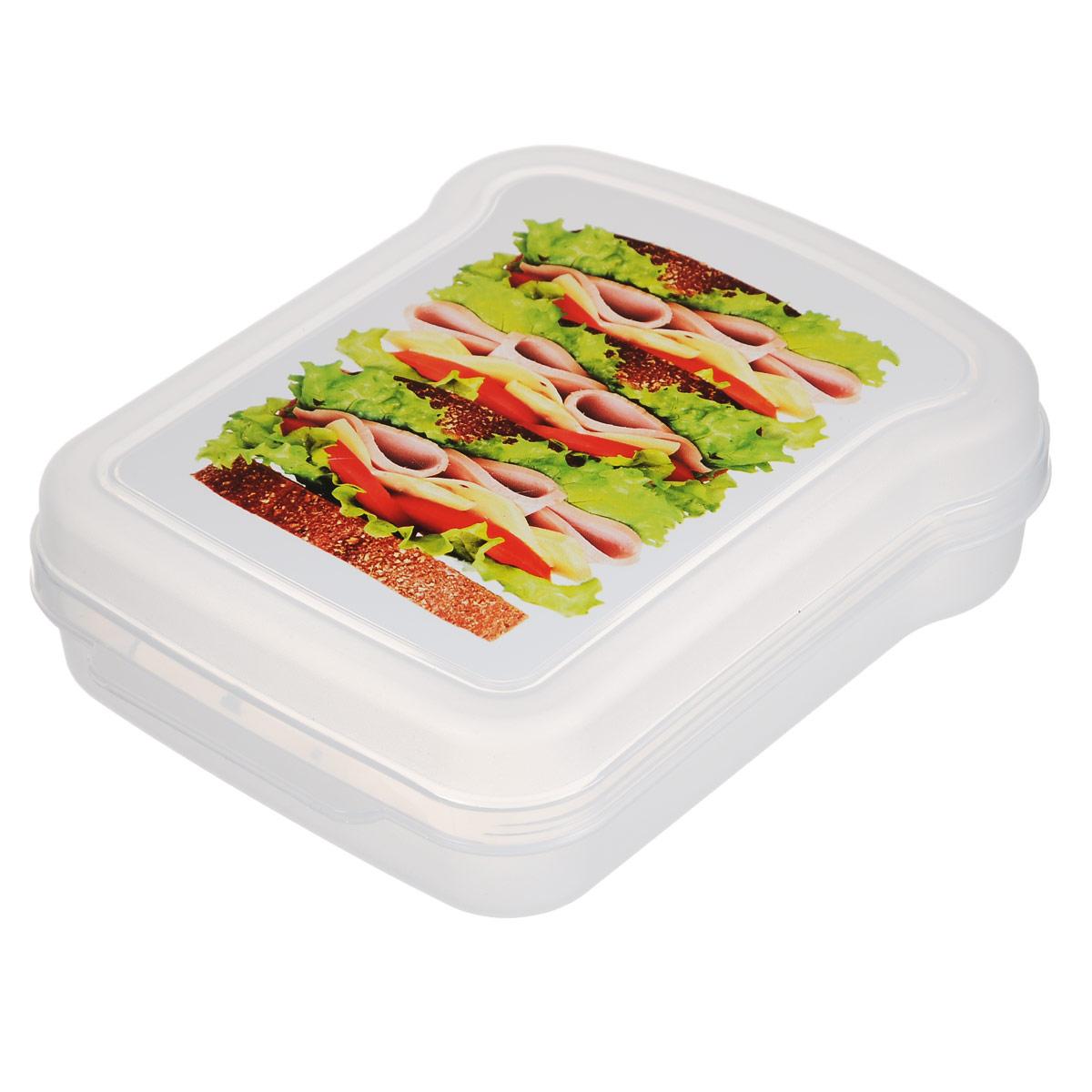 Контейнер для бутербродов Phibo, 17 см х 13 см х 4,2 смС12854Контейнер для бутербродов Phibo изготовлен из прозрачного пищевого пластика, устойчивого к высоким температурам. Контейнер выполнен в форме бутерброда, поэтому идеально подходит для их хранения. Крышка плотно закрывается, дольше сохраняя еду свежей и вкусной. Такой контейнер удобно брать с собой на работу, учебу, пикник.Подходит для разогрева пищи в микроволновой печи и для хранения в холодильнике. Можно мыть в посудомоечной машине.