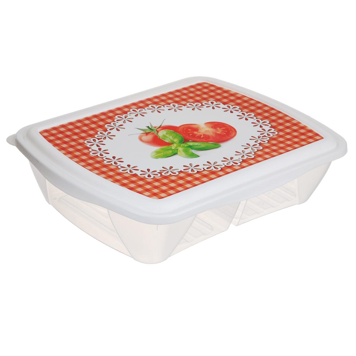 Контейнер двухсекционный Phibo Рондо. Помидоры, 1,25 лС11737Контейнер Phibo Рондо изготовлен из пищевого пластика, устойчивого к высоким температурам. Крышка плотно закрывается, дольше сохраняя еду свежей и вкусной. Контейнер снабжен 2 секциями, которые позволяют хранить сразу несколько продуктов или блюд. Такой контейнер удобно брать с собой на работу, учебу, пикник или просто использовать для хранения продуктов в холодильнике.Подходит для разогрева пищи в микроволновой печи и для заморозки в морозильной камере. Можно мыть в посудомоечной машине.
