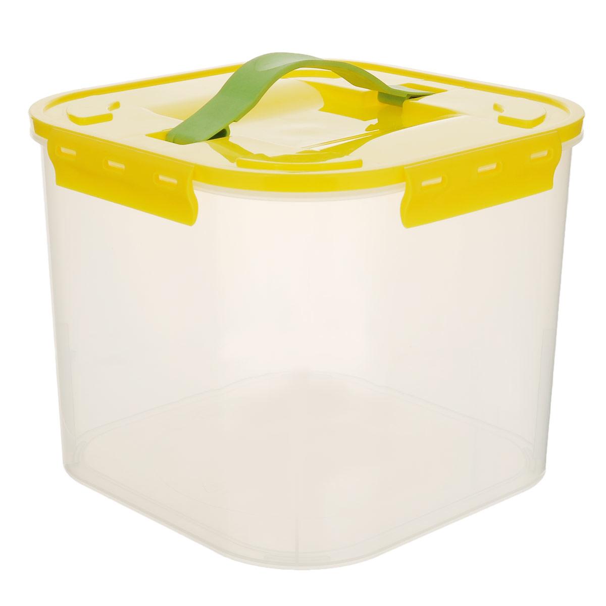 Контейнер для хранения Idea, цвет: желтый, прозрачный, 7 лМ 2820Контейнер для хранения Idea выполнен из прозрачного пластика. Контейнер идеально подойдет для хранения пищевых продуктов, а также любых мелких бытовых предметов: канцелярии, принадлежностей для шитья и т.д. Контейнер плотно закрывается цветной крышкой с 4 защелками. Для удобства переноски сверху имеется ручка, выполненная из термоэластопласта. Контейнер Idea очень вместителен, он пригодится в любом хозяйстве.
