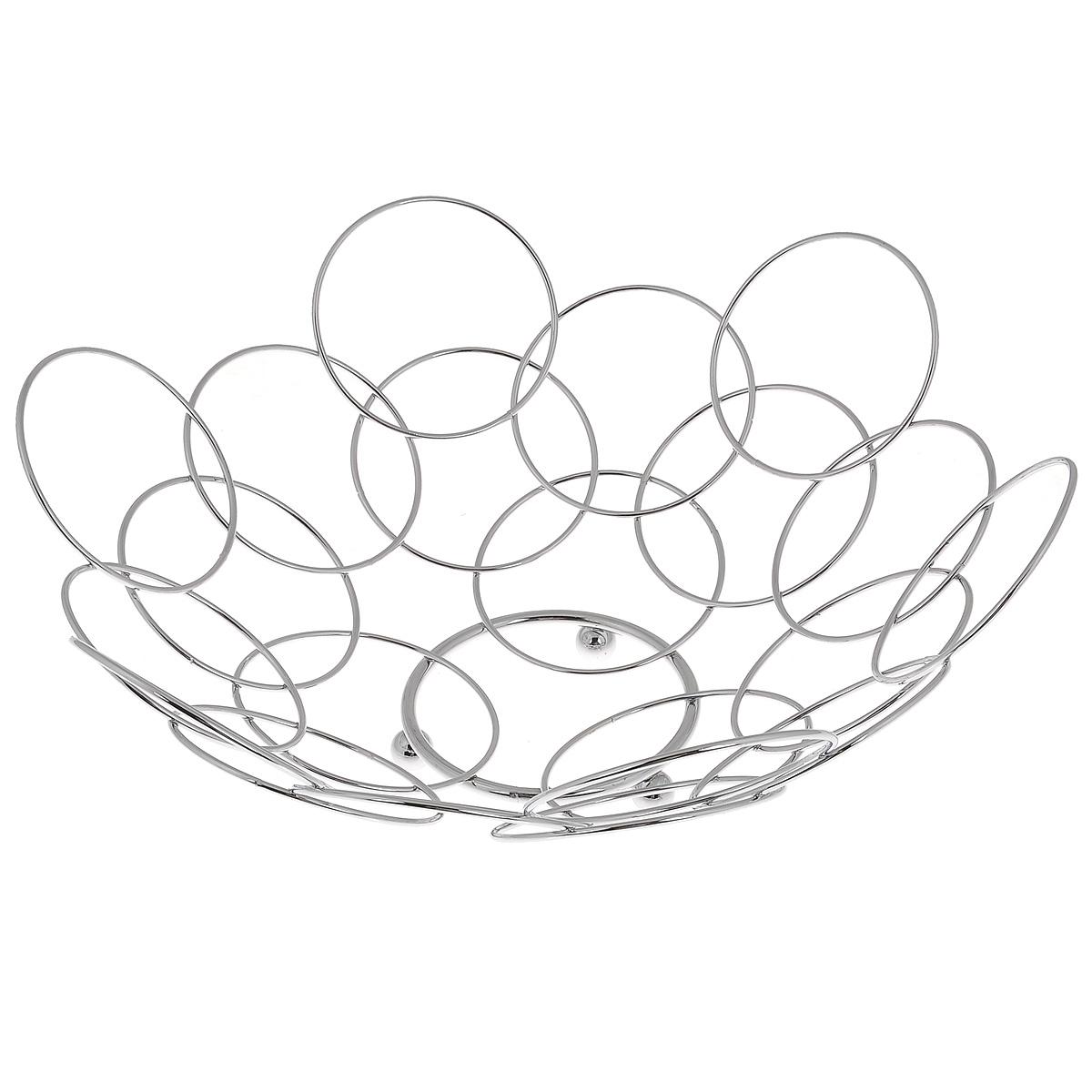 Фруктовница Kesper, диаметр 36 см9084-5Оригинальная фруктовница Kesper, изготовленная из металла с хромированной поверхностью, идеально подходит для хранения и красивой сервировки любых фруктов. Современный дизайн фруктовницы идеально впишется в интерьер вашей кухни. Вместительная фруктовница Kesper позволит красиво уложить фрукты, сделав сервировку стола изысканной и незабываемой.Диаметр: 36 см.Высота: 14 см.