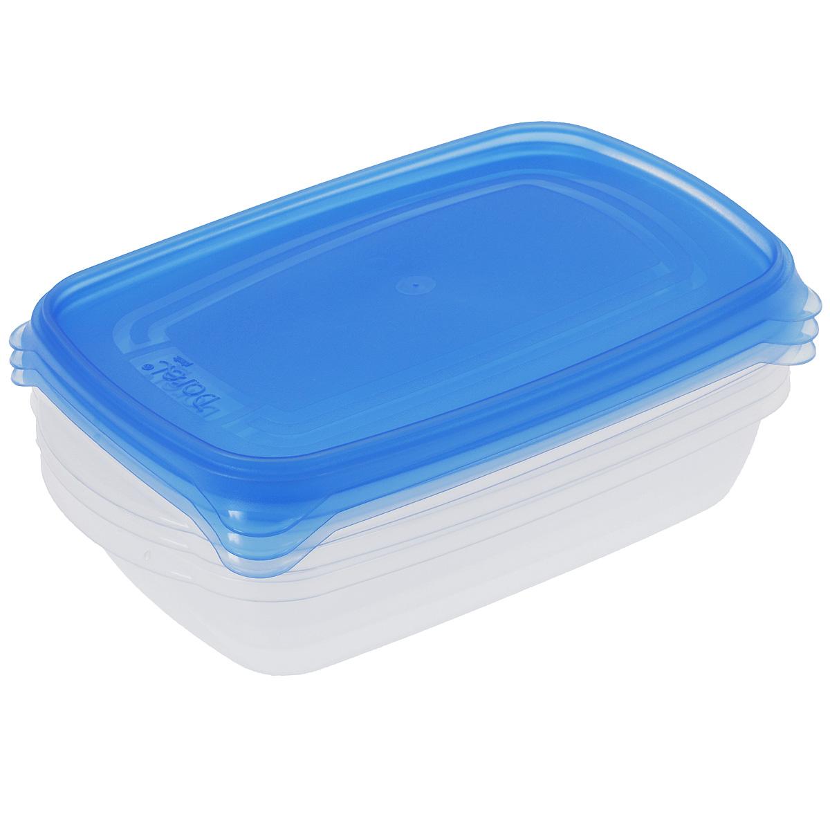 Набор контейнеров Darel, цвет: синий, 700 мл, 3 шт40401Набор Darel состоит из трех прямоугольных контейнеров. Изделия выполнены из высококачественного пищевого полипропилена. Крышки легко открываются и плотно закрываются с помощью легкого щелчка.Подходят для хранения и транспортировки пищи. Складываются друг в друга, что экономит пространство при хранении в шкафу. Контейнеры подходят для использования в микроволновой печи без крышки, а также для заморозки в морозильной камере. Можно мыть в посудомоечной машине.