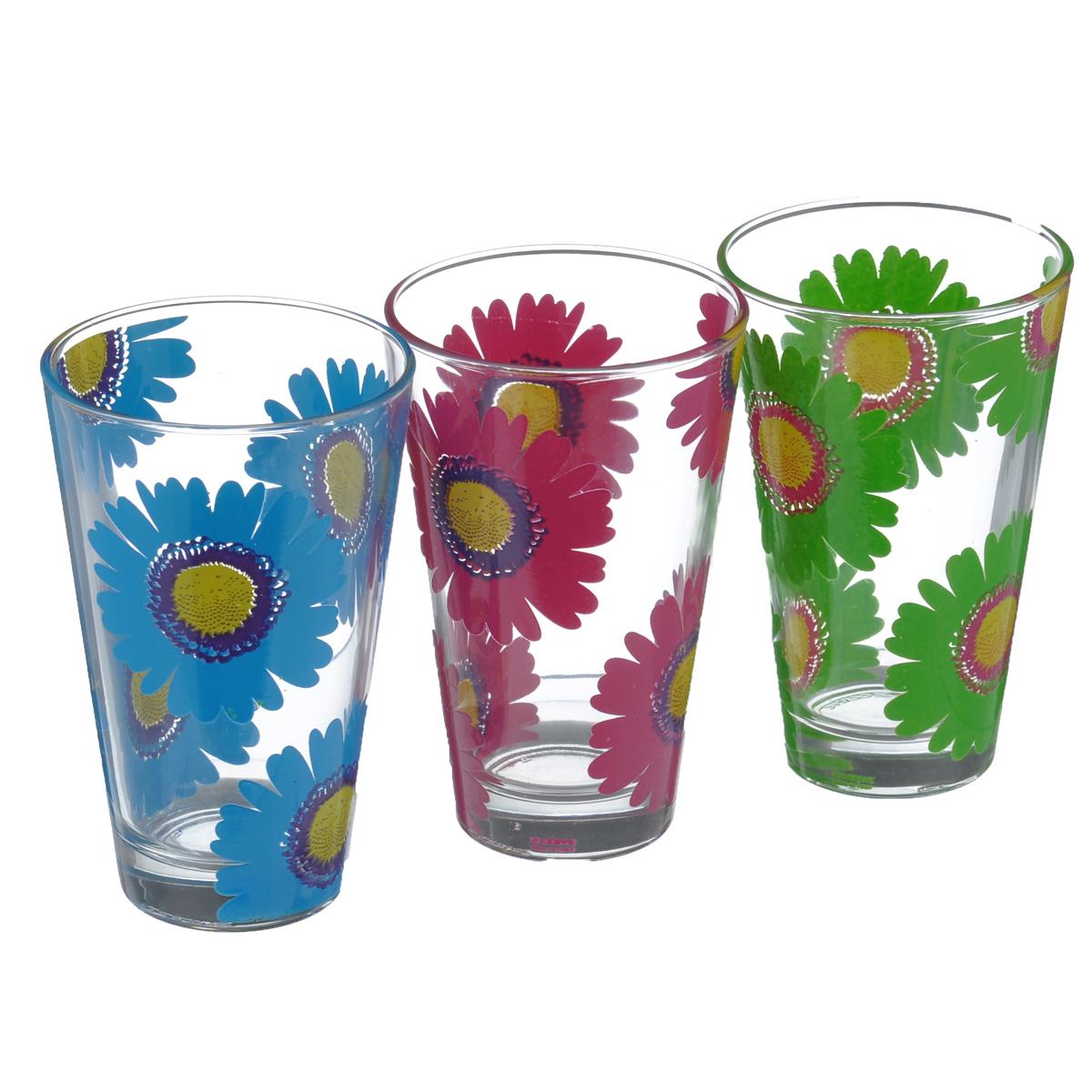 Набор стаканов Cerve Герберы, 310 мл, 3 штCEM47790Набор Cerve Герберы состоит из трех стаканов, изготовленных из высококачественного стекла. Внешние стенки оформлены красочным цветочным узором. Такие стаканы прекрасно подойдут для сока, воды, лимонада и других напитков. Они ярко оформят стол и станут прекрасным дополнением к коллекции вашей кухонной посуды. Можно мыть в посудомоечной машине. Диаметр стакана (по верхнему краю): 8 см. Высота стакана: 12 см.