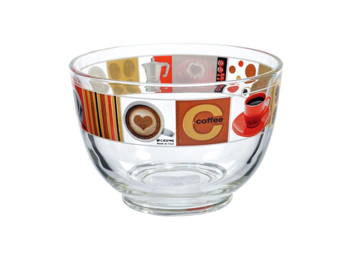 Салатница Cerve Любимый кофе, цвет: прозрачный, красный, 690 млCEM50090Салатница Cerve Любимый кофе изготовлена из прочного стекла и декорирована красочным рисунком. Она легко моется в теплой воде.Яркая салатница станет украшением вашего стола и прекрасно подойдет для использования, как дома, так и на даче или пикниках.Можно мыть в посудомоечной машине. Объем салатницы: 690 мл. Диаметр салатницы (по верхнему краю): 13 см. Высота стенки салатницы: 9 см.