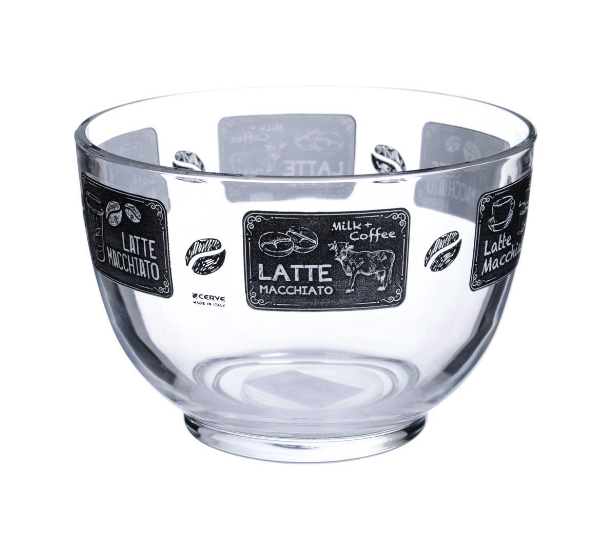 Салатница Cerve Кофейня, цвет: прозрачный, черный, 690 млCEM52900Салатница Cerve Кофейня изготовлена из прочного стекла и декорирована красочным рисунком. Она легко моется в теплой воде.Яркая салатница станет украшением вашего стола и прекрасно подойдет для использования, как дома, так и на даче или пикниках.Можно мыть в посудомоечной машине. Объем салатницы: 690 мл. Диаметр салатницы (по верхнему краю): 13 см. Высота стенки салатницы: 9 см.
