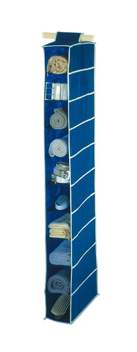 Чехол подвесной Cosatto Voila, цвет: синий, 14 х 30 х 120 смCOVLSZT010Подвесной чехол Cosatto Voila изготовлен из дышащего моющегося полиэстера и нетканого материала, прочность каркаса обеспечивается наличием внутри плотных листов картона. Легкая подвесная конструкция с 10 вместительными секциями позволяет удобно хранить одежду, постельное белье, аксессуары или игрушки. Изделие может крепиться на штангу в обычном платяном шкафу или на отдельные напольные или настенные штанги.