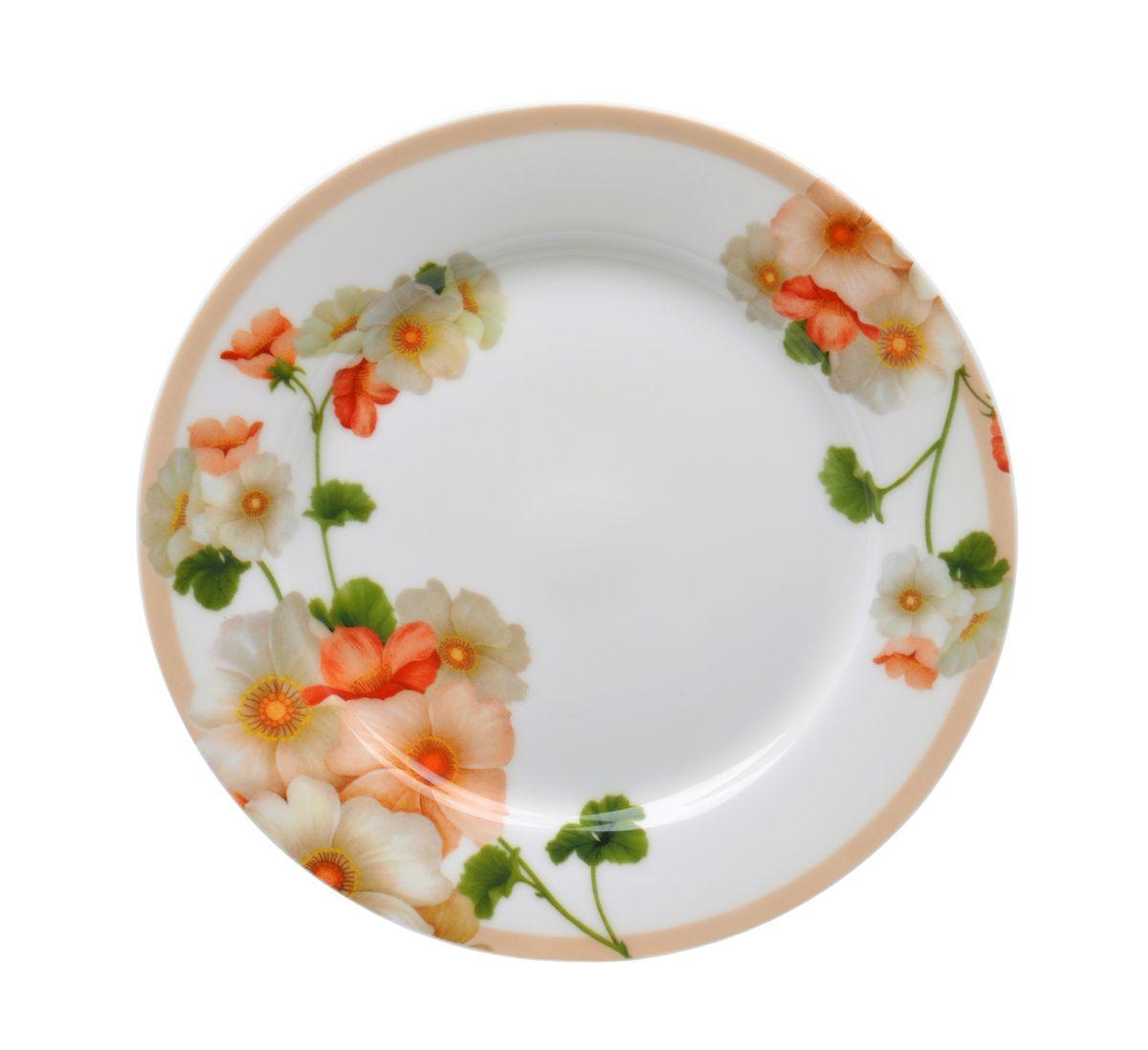 """Тарелка десертная Nanshan Porcelain """"Мальва"""" изготовлена из высококачественного фарфора. Предназначена для красивой подачи различных блюд. Изделие декорировано цветочным рисунком.  Такая тарелка украсит сервировку стола и подчеркнет прекрасный вкус хозяйки. Можно мыть в посудомоечной машине и использовать в СВЧ.  Диаметр: 19 см. Высота: 1,5 см."""