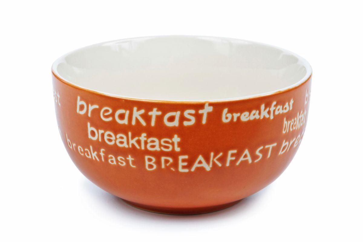 Салатник Wing Star Breakfast, цвет: терракотовый, диаметр 14 смLJ7-18B-145UСалатник Wing Star Breakfast изготовлен из высококачественной керамики. Предназначен для красивой подачи различных блюд. Изделие украшено надписью Breakfast. Такой салатник украсит сервировку стола и подчеркнет прекрасный вкус хозяйки.Можно мыть в посудомоечной машине и использовать в микроволновой печи. Диаметр: 14 см.Высота: 6,5 см.