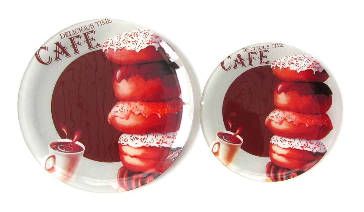 Тарелка Zibo Shelley Пончики шоколад, диаметр 20 смZSDC3208Тарелка Zibo Shelley Пончики шоколад изготовлена из высококачественногостекла. Предназначена для красивой подачи различных блюд. Изделиедекорировано яркой красочной картинкой.Такая тарелка украсит сервировку стола и подчеркнет прекрасный вкус хозяйки. Не рекомендуется мыть в посудомоечной машине и использовать в СВЧ. Диаметр: 20 см. Высота: 1 см.