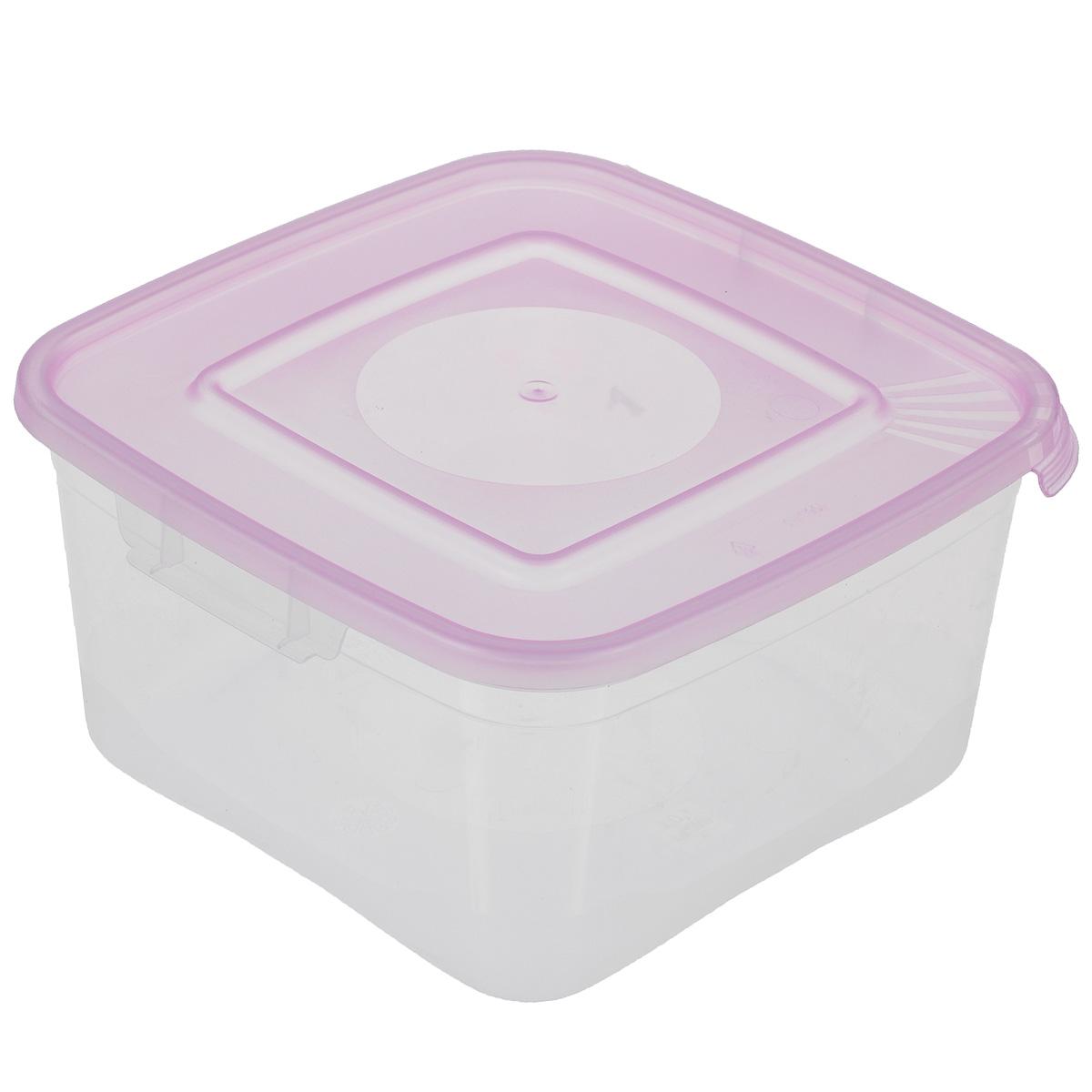 Контейнер Полимербыт Каскад, цвет: прозрачный, сиреневый, 1 лС670Контейнер Полимербыт Каскад квадратной формы, изготовленный из прочного пластика, предназначен специально для хранения пищевых продуктов. Крышка легко открывается и плотно закрывается.Контейнер устойчив к воздействию масел и жиров, легко моется. Прозрачные стенки позволяют видеть содержимое. Контейнер имеет возможность хранения продуктов глубокой заморозки, обладает высокой прочностью. Можно мыть в посудомоечной машине. Подходит для использования в микроволновых печах.