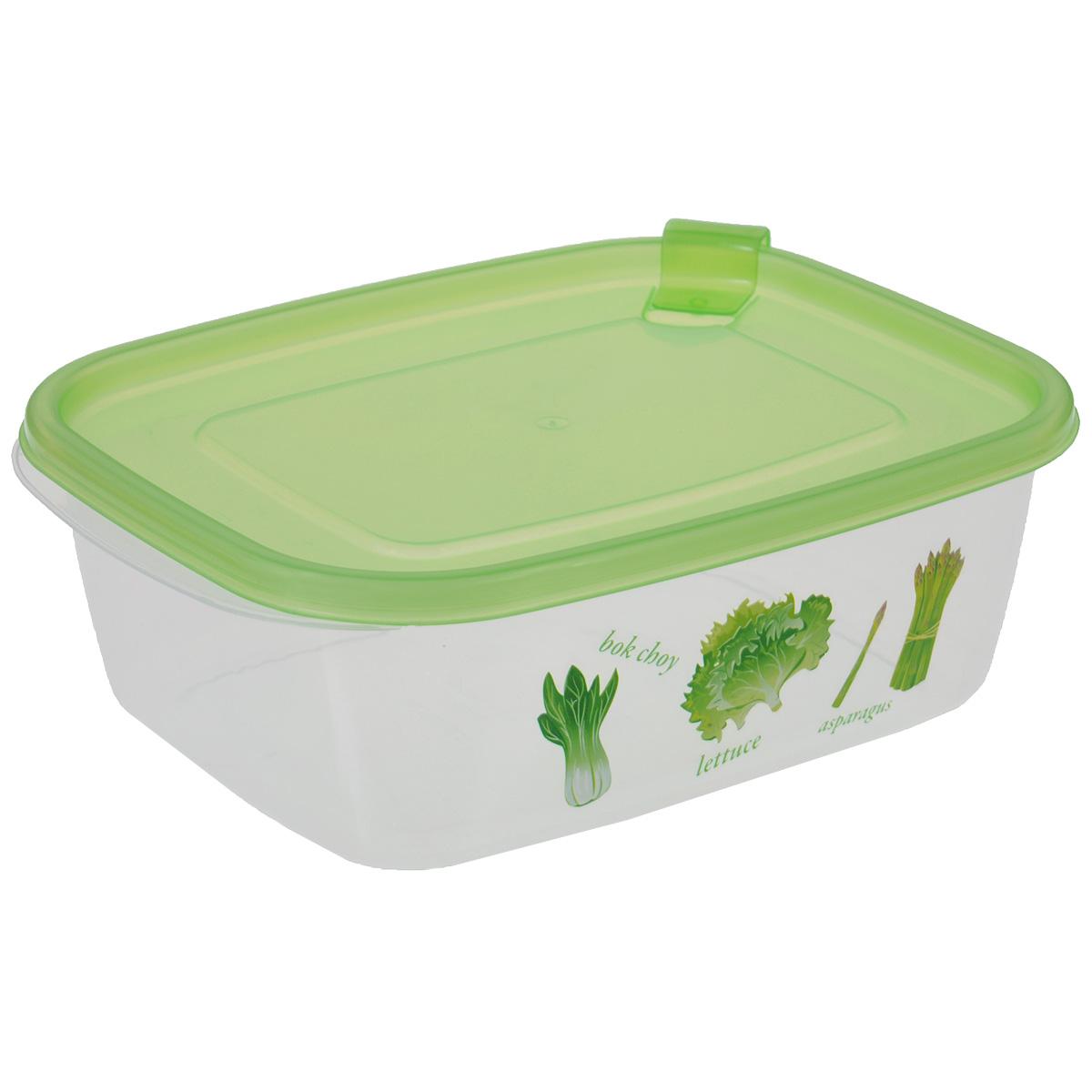 Контейнер Бытпласт Phibo, цвет: зеленый, 1,25 лС11704Контейнер Бытпласт Phibo прямоугольной формы, изготовленный из прочного пластика, предназначен специально для хранения пищевых продуктов. Контейнер, декорированный изображением овощей, оснащен герметичной крышкой со специальным клапаном, благодаря которому внутри создается вакуум, и продукты дольше сохраняют свежесть и аромат. Крышка легко открывается и плотно закрывается.Прозрачные стенки позволяют видеть содержимое.Контейнер устойчив к воздействию масел и жиров, легко моется. Контейнер имеет возможность хранения продуктов глубокой заморозки, обладает высокой прочностью.Можно мыть в посудомоечной машине. Подходит для использования в микроволновых печах.