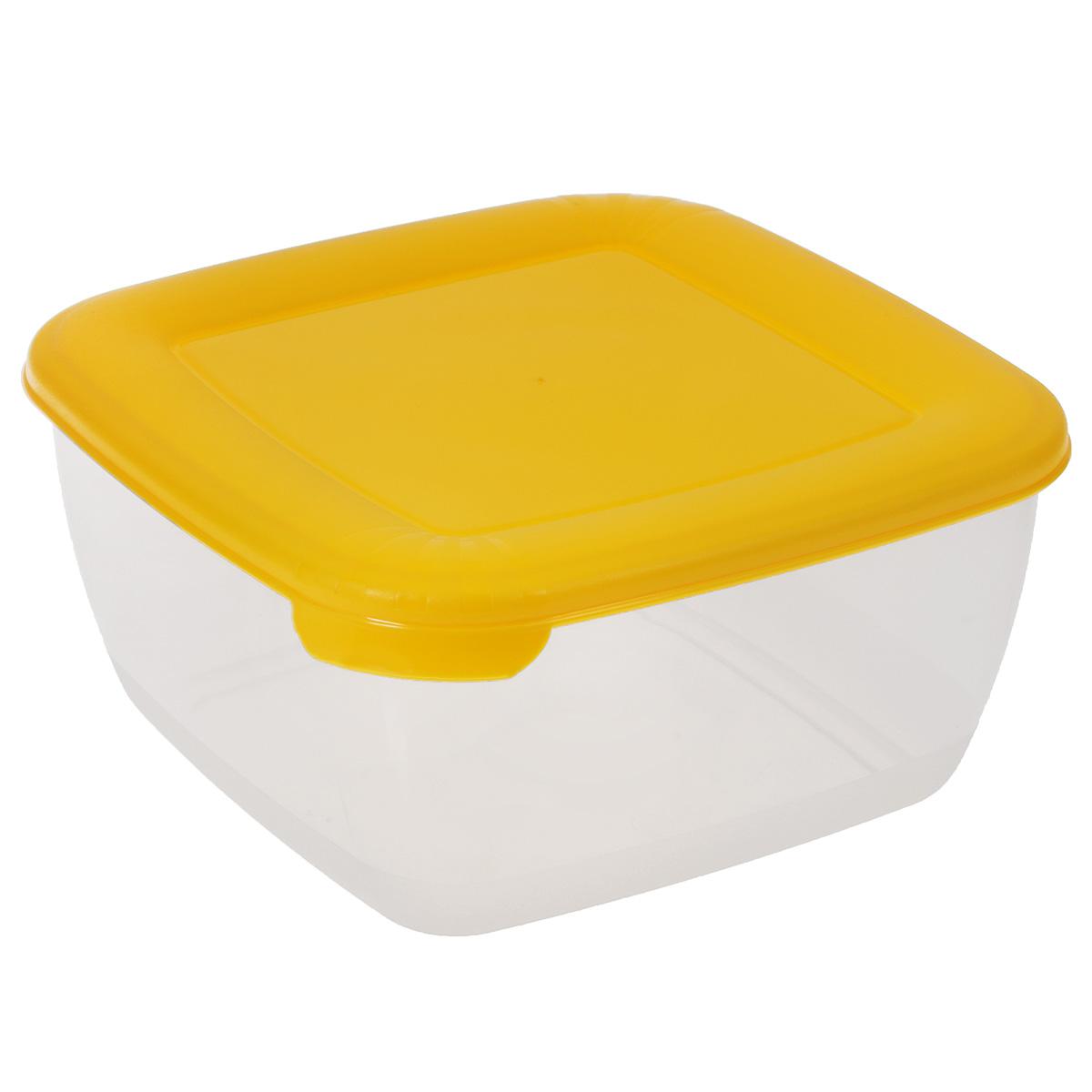 Контейнер Полимербыт Лайт, цвет: прозрачный, желтый, 1,5 л