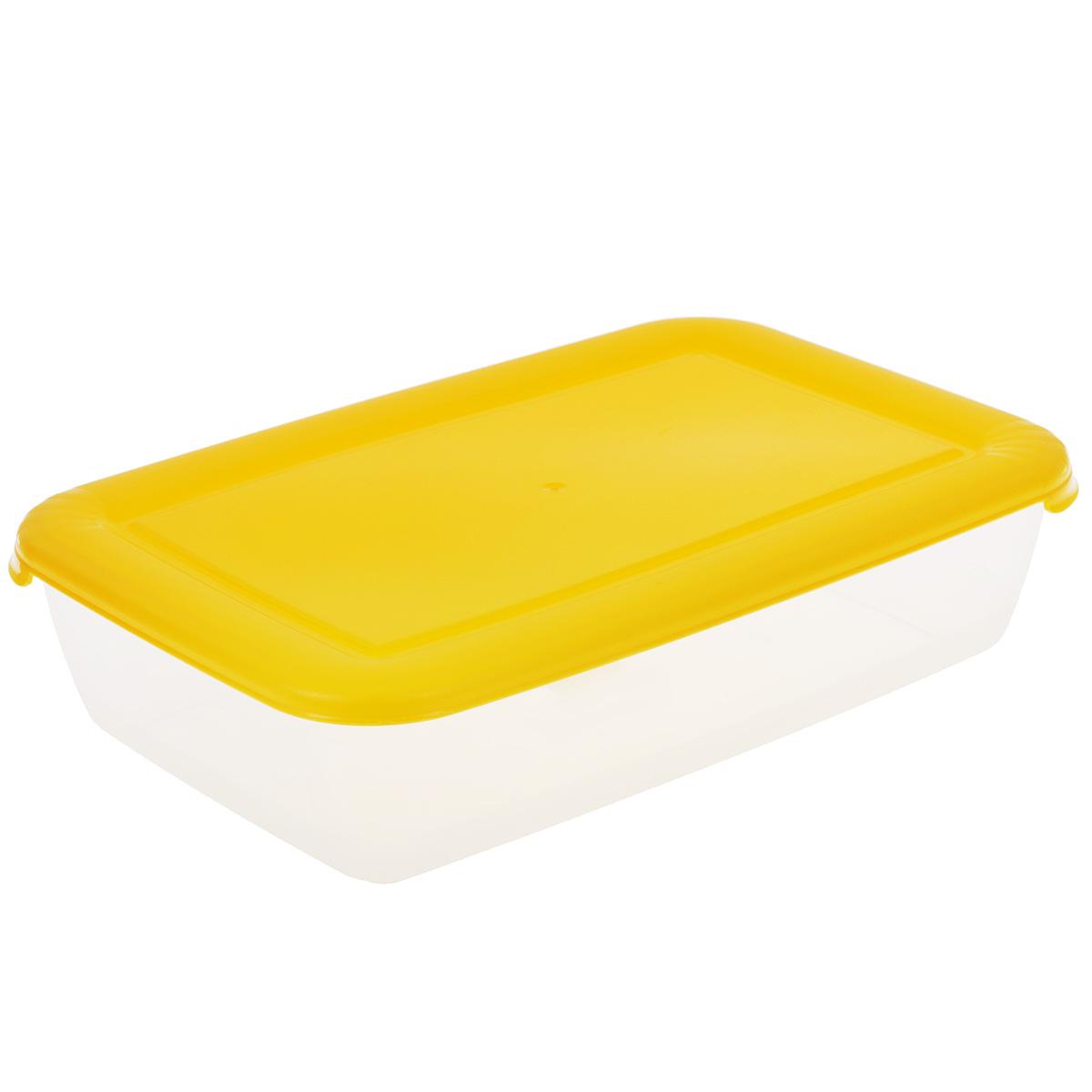 Контейнер Полимербыт Лайт, цвет: прозрачный, желтый, 1,9 лС553Контейнер Полимербыт Лайт прямоугольной формы, изготовленный из прочного пластика, предназначен специально для хранения пищевых продуктов. Крышка легко открывается и плотно закрывается.Контейнер устойчив к воздействию масел и жиров, легко моется. Прозрачные стенки позволяют видеть содержимое. Контейнер имеет возможность хранения продуктов глубокой заморозки, обладает высокой прочностью. Можно мыть в посудомоечной машине. Подходит для использования в микроволновых печах.