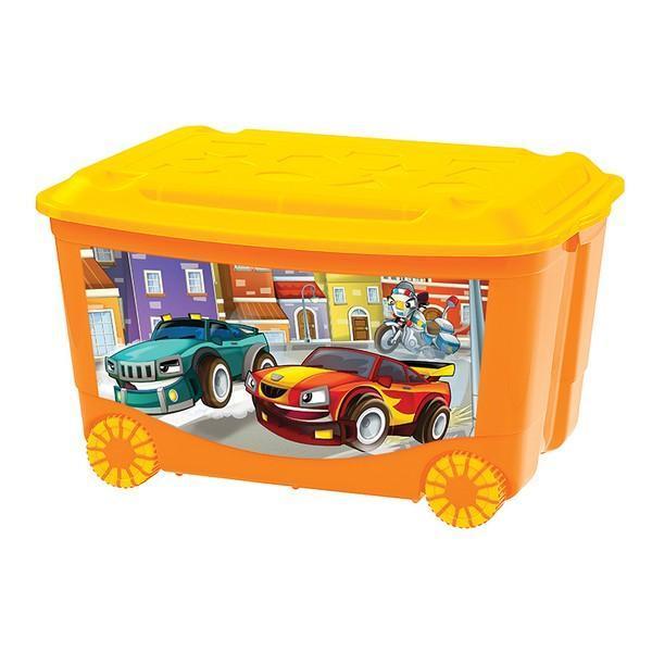Ящик для игрушек на колесах 580х390х335 с аппликацией. С13809С13809Хранить игрушки в пластиковом ящике на колесах удобно и просто. Ящик легко перемещается с места на место, может храниться под кроватью малыша.Приучать ребенка к уборке в комнате гораздо проще, если у вас есть удобные, красивые детские пластмассовые ящики для хранения.