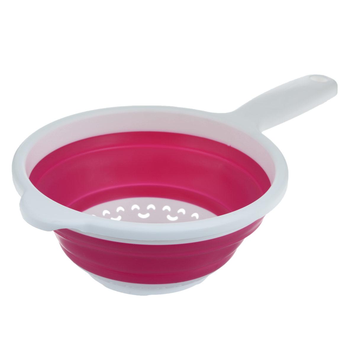 Дуршлаг складной Neo Way, цвет: белый, розовый, диаметр 20 см9046_белый, розовыйСкладной дуршлаг Neo Way станет полезным приобретением для вашей кухни. Он изготовлен из высококачественного пищевого силикона и пластика. Дуршлаг оснащен удобной эргономичной ручкой со специальным отверстием для подвешивания. Изделие прекрасно подходит для процеживания, ополаскивания и стекания макарон, овощей, фруктов. Дуршлаг компактно складывается, что делает его удобным для хранения.Можно мыть в посудомоечной машине.Диаметр (по верхнему краю): 20 см.Максимальная высота: 8,5 см.Минимальная высота: 3 см.