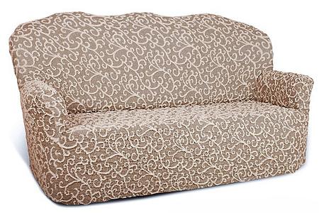 Чехол на 3-х местный диван Еврочехол Жаккард, цвет: серый, светло-коричневый, 150-220 см натяжной чехол на трехместный диван еврочехол еврочехол фантазия венеция