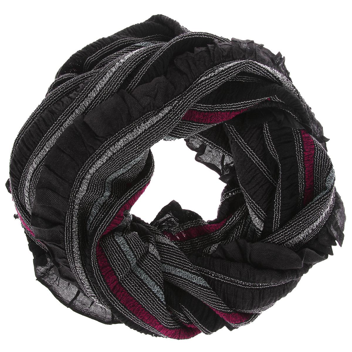 Палантин Ethnica, цвет: черный, серый, бордовый. 483200н. Размер 70 см х 180 см