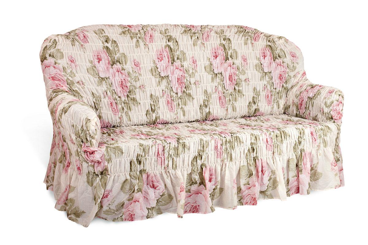 Чехол на 2-х местный диван Еврочехол Фантазия, цвет: светло-зеленый, розовый, белый, 100-160 см натяжной чехол на трехместный диван еврочехол еврочехол фантазия венеция