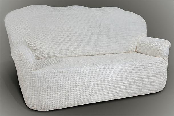 Чехол на 2-х местный диван Еврочехол Олимпия цвет молочный 100-150 см