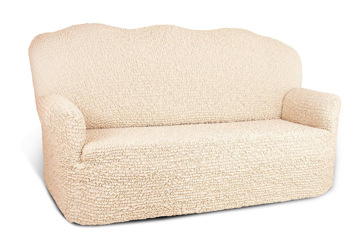 Чехол на 2-х местный диван Еврочехол Микрофибра, цвет: ванильный, 100-160 см натяжной чехол на трехместный диван еврочехол еврочехол фантазия венеция