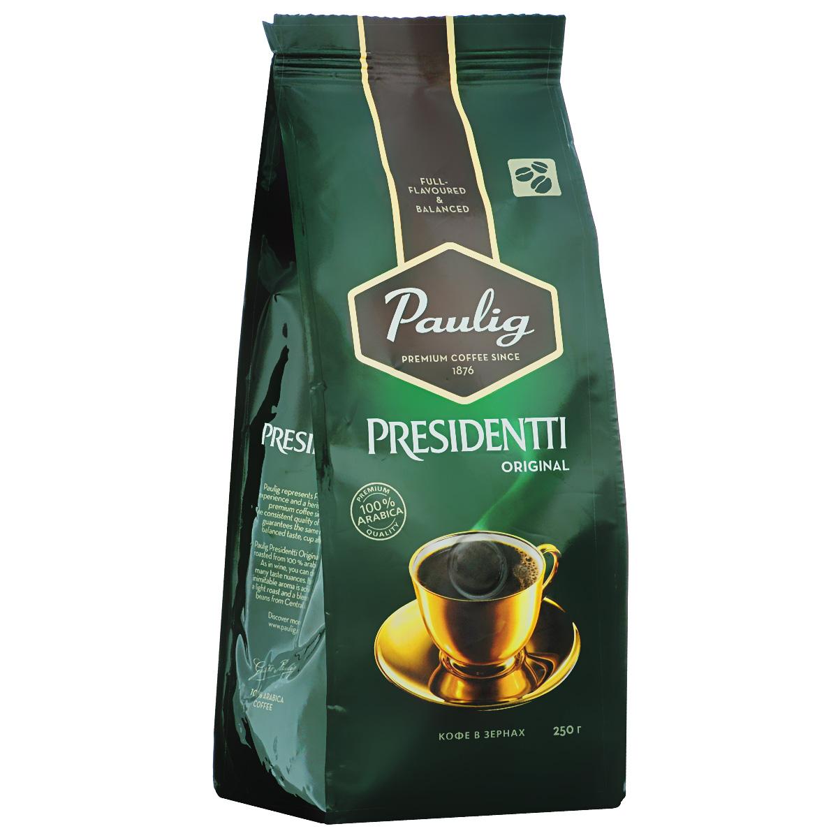Paulig Presidentti Original кофе в зернах, 250 г16570В кофе Paulig Presidentti Original, приготовленном из обжаренных зерен 100% арабики, вы откроете различные оттенки вкуса. Насыщенный,неподражаемый аромат достигается благодаря смеси кофейных зерен светлой обжарки из Центральной Америки.