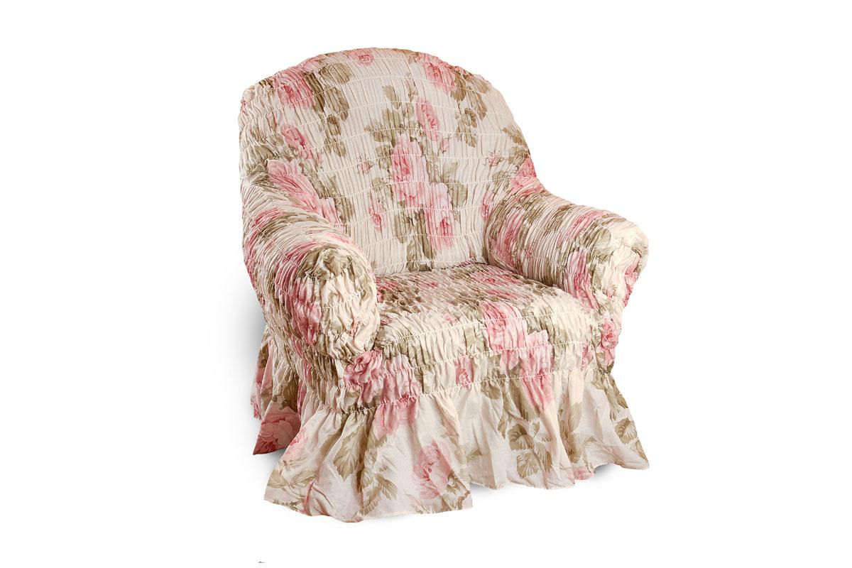 Чехол на кресло Еврочехол Фантазия, 60-100 см2/8-1Чехол на кресло Еврочехол Фантазия выполнен из 50% хлопка, 50% полиэстера. Он защитит вашу мебель от ежедневных воздействий. Натуральный состав ткани гипоаллергенен, а потому безопасен для малышей или людей пожилого возраста. Чехол в классическом цветовом исполнении - один из самых востребованных. Наличие оборки (юбки) по нижнему краю чехла придает мебели особое очарование, изюминку, привнося в интерьер помещения уют, свежесть, легкость и мягкость. Неважно, в каком стиле выполнена обстановка (это может быть классический интерьер, либо скандинавского стиля, или даже в колониальных мотивах), чехол чудесно дополнит стилистику любого интерьера - от ретро до современности. Гостиная, детская, кухня, прихожая или спальня - с таким чехлом любая комната наполнится нежностью и любовью.Растяжимость чехла по спинке (без учета подлокотников): 60-100 см.