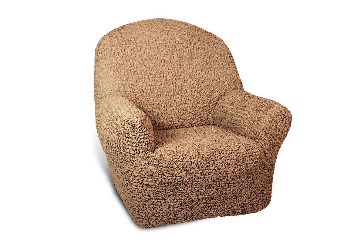 Чехол на кресло Еврочехол Микрофибра, цвет: кофейный, 60-100 см чехлы для мебели еврочехол еврочехол плиссе лен на кресло