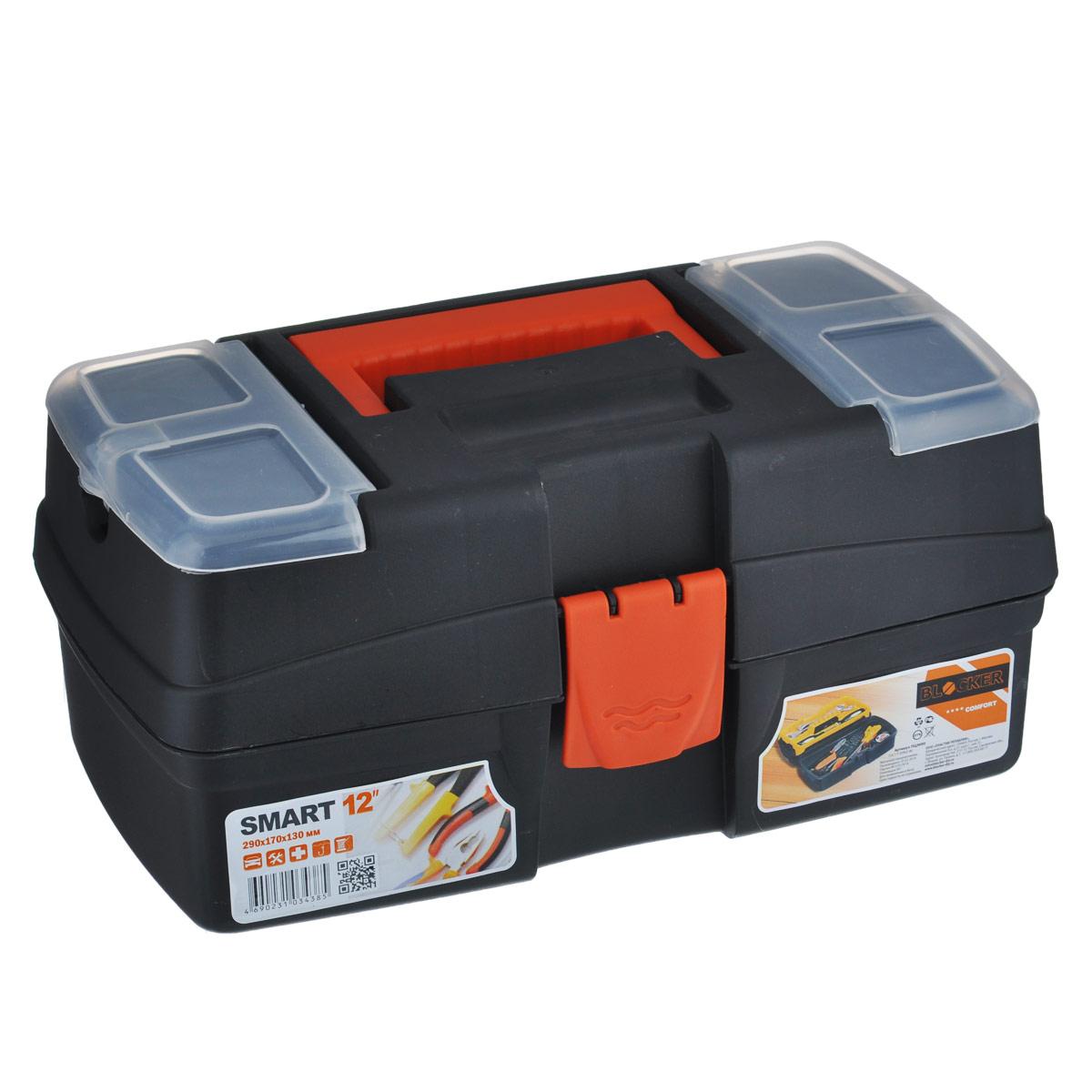 Ящик для инструментов Blocker Smart, с органайзером, цвет: черный, красный, 29 х 17 х 13 смПЦ3690Ящик Blocker Smart выполнен из прочного пластика и предназначен для хранения инструментов. Изделие оснащено ручкой для удобной переноски. В комплект входит небольшой съемный органайзер.Сверху на ящике расположены две секции с прозрачными крышками. Все крышки плотно закрываются на защелки.