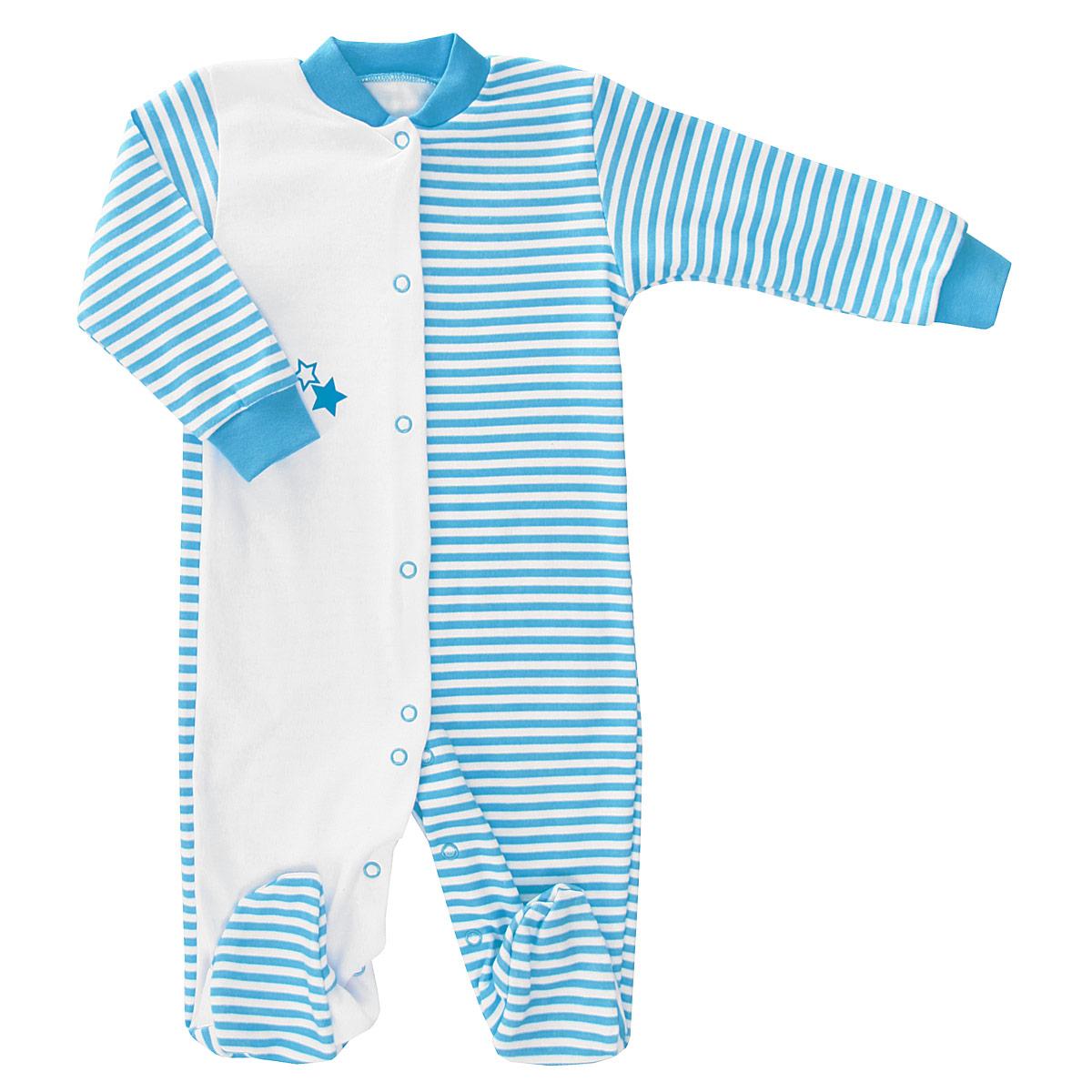 Комбинезон для мальчика КотМарКот, цвет: белый, бирюзовый. 3646. Размер 563646Детский комбинезон для мальчика КотМарКот - очень удобный и практичный вид одежды для малыша. Комбинезон выполнен из интерлока (натурального хлопка), благодаря чему он необычайно мягкий и приятный на ощупь, не раздражает нежную кожу ребенка и хорошо вентилируется, а эластичные швы приятны телу младенца и не препятствуют его движениям. Комбинезон с длинными рукавами и закрытыми ножками имеет застежки-кнопки от горловины до щиколоток, которые помогают легко переодеть ребенка или сменить подгузник. Рукава дополнены широкими контрастными трикотажными манжетами, которые мягко обхватывают запястья, горловина дополнена небольшим трикотажным воротничком контрастного цвета.Модель оформлена принтом в полоску. Одна передняя полочка однотонная и декорирована изображением звездочек. С таким детским комбинезоном спинка и ножки вашего малыша всегда будут в тепле, он идеален для использования днем и незаменим ночью. Комбинезон полностью соответствует особенностям жизни младенца в ранний период, не стесняя и не ограничивая его в движениях!