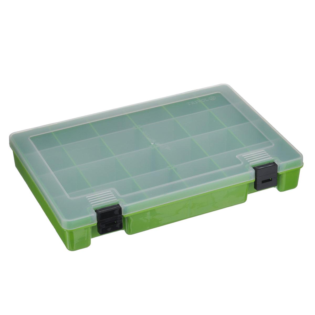 Коробка для мелочей Trivol, со съемными перегородками, цвет: зеленый, 27 х 18 х 4 смтип-7Коробка Trivol выполненная из прочного пластика, предназначена для хранения различныхмелких вещей. Количество отделений можно изменять благодаря съемным перегородкам. Такаякоробка закрывается припомощи прозрачной крышки, что поможет быстро определить содержимое. Коробка поможетхранить все в одном месте, а также защитить вещи от пыли, грязи и влаги.