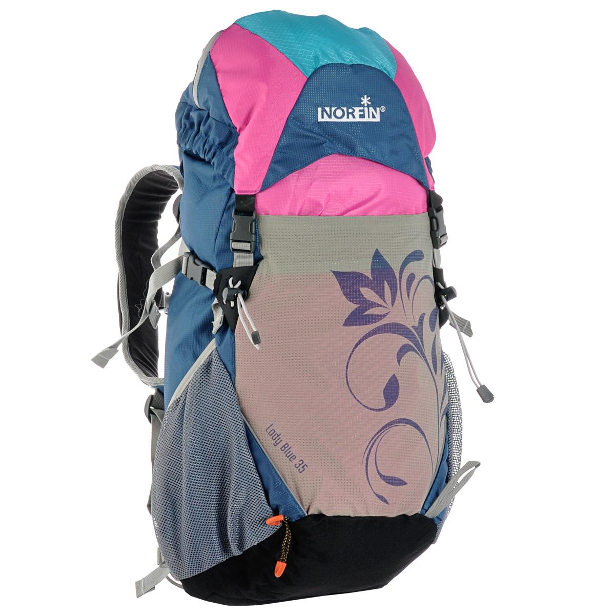 Рюкзак туристический Norfin Lady Blue, цвет: голубой, розовый, 35 л