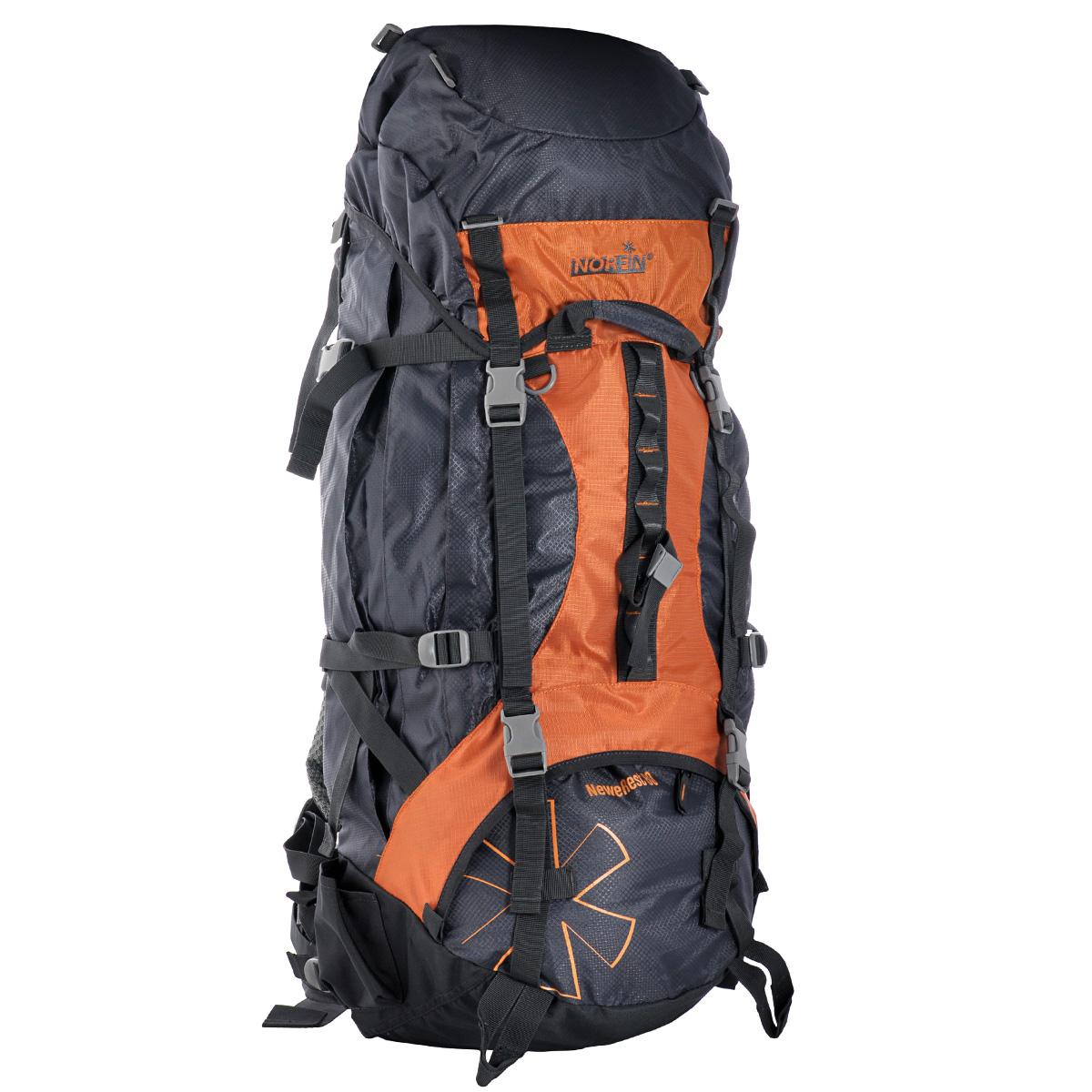 Рюкзак туристический Norfin NeweRest, цвет: серый, оранжевый, 80 лNS-40209Туристический функциональный 80-литровый рюкзак Norfin NeweRest отлично подойдет для походов и путешествий. Особенности рюкзака:Анатомический съемный пояс. Отлично сидит на бедрах, хорошо перераспределяет нагрузкуРегулируемая подвесная система V-1 Грудная стяжка Алюминиевые латы Выход под питьевую систему Основное отделение с разделителем на молнии позволит удобно распределить содержимое рюкзака Верхний и нижний входы в основное отделение Объемные боковые карманыНижние боковые карманы для фиксирования длинномерных грузов имеют боковые стяжки Плавающий верхний клапан с внешним и внутренним карманамиДополнительная ручка с фронтальной стороны для погрузки-разгрузки рюкзака Чехол-дождевик в кармане на дне Возможность крепления трекинговых палок.Что взять с собой в поход?. Статья OZON Гид