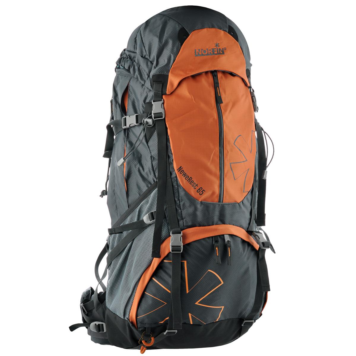 Рюкзак туристический Norfin NeweRest, цвет: серый, оранжевый, 65 лNS-40207Туристический функциональный 65-литровый рюкзак Norfin NeweRest отлично подойдет для походов и путешествий. Особенности рюкзака:Анатомический съемный пояс с карманами. Отлично сидит на бедрах, хорошо перераспределяет нагрузкуРегулируемая подвесная система H-1 Плечевые лямки с перфорированным наполнителем EVA для смягчения, с карманами Грудная стяжка Алюминиевые латы Выход под питьевую систему Основное отделение с разделительной мембраной позволит удобно распределить содержимое рюкзака Верхний и нижний входы в основное отделение Большие боковые карманы на молнии, боковые сетчатые карманы Большой фронтальный карман Плавающий верхний клапан с внешним и внутренним карманамиЧехол-дождевик в кармане на дне Возможность крепления горного снаряжения Водонепроницаемые молнии.Что взять с собой в поход?. Статья OZON Гид