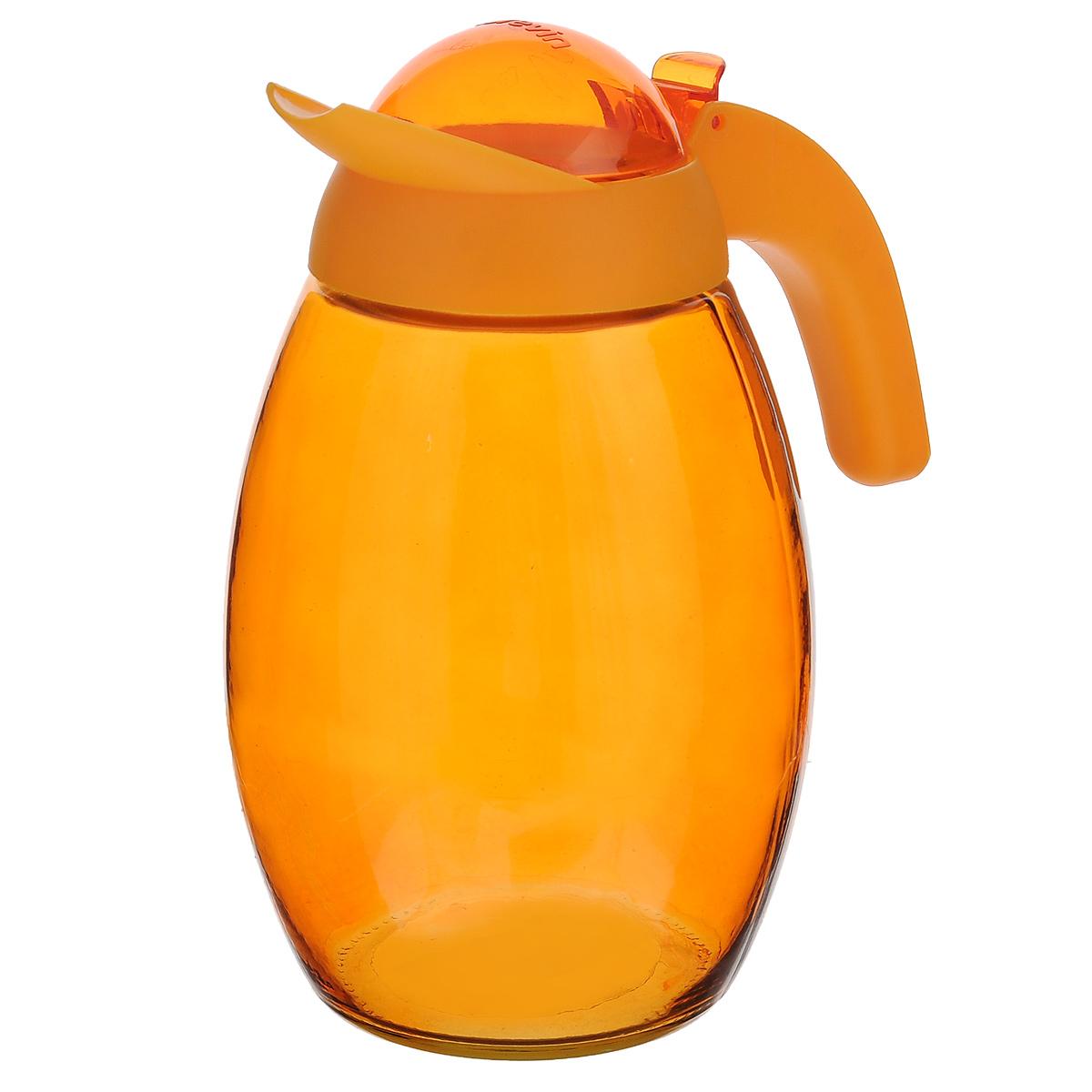 """Кувшин """"Herevin"""", выполненный из высококачественного прочного стекла, элегантно украсит ваш стол. Кувшин оснащен удобной ручкой и завинчивающейся пластиковой крышкой. Благодаря этому внутри сохраняется герметичность, и напитки дольше остаются свежими. Кувшин прост в использовании,  достаточно просто наклонить его и налить ваш любимый напиток. Цветная крышка оснащена откидным механизмом для более удобного заливания жидкостей. Изделие прекрасно подойдет для подачи воды, сока, компота и других напитков.  Кувшин """"Herevin"""" дополнит интерьер вашей кухни и станет замечательным подарком к любому празднику. Диаметр (по верхнему краю): 6 см. Высота кувшина (без учета крышки): 18,5 см."""