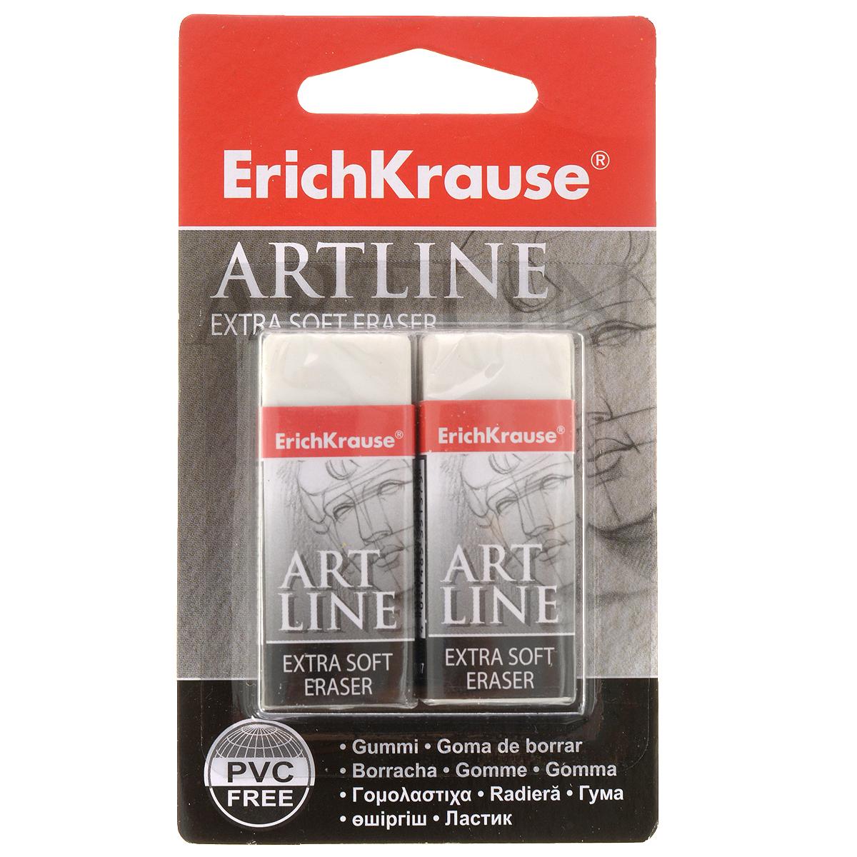 Набор ластиков Erich Krause Artlane, 2 шт35138Набор ластиков Erich Krause Artlaneстанет незаменимым аксессуаром на рабочем столе не только школьника или студента, но и офисного работника. Он прекрасно удаляет линии, оставленные карандашами. При стирании стружка от ластика скатывается в единый комок, а не рассыпается по всей поверхности бумаги. В комплекте два ластика.