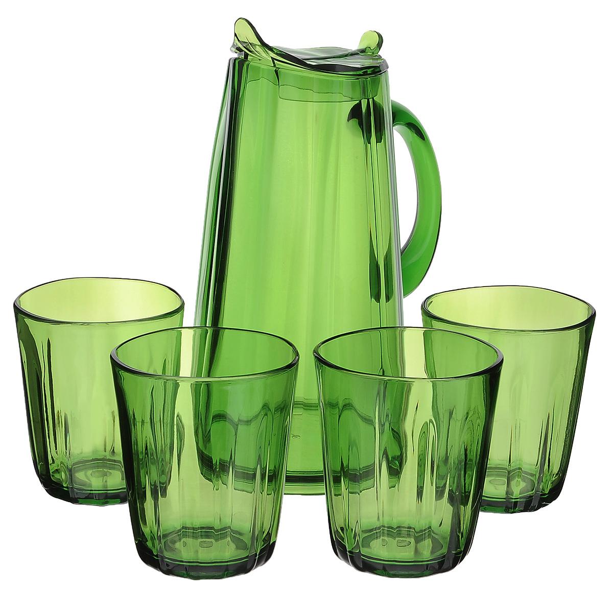 Набор для сока Louis Gourmet Листок, цвет: зеленый, 5 предметовGL 1902Набор для сока Louis Gourmet Листок выполнен из высококачественного пластика. Набор состоит из графина с крышкой и 4 стаканов. Графин и стаканы выполнены в оригинальном дизайне и украсят любой праздничный стол. Благодаря такому набору пить напитки будет еще вкуснее. Набор для сока Louis Gourmet Листок станет также отличным подарком на любой праздник.Высота стенок графина: 23,5 см.Объем графина: 1,75 л.Диаметр графина по верхнему краю: 8 см.Высота стакана: 10,5 см.Объем стакана: 400 мл.Диаметр стакана по верхнему краю: 8,5 см.