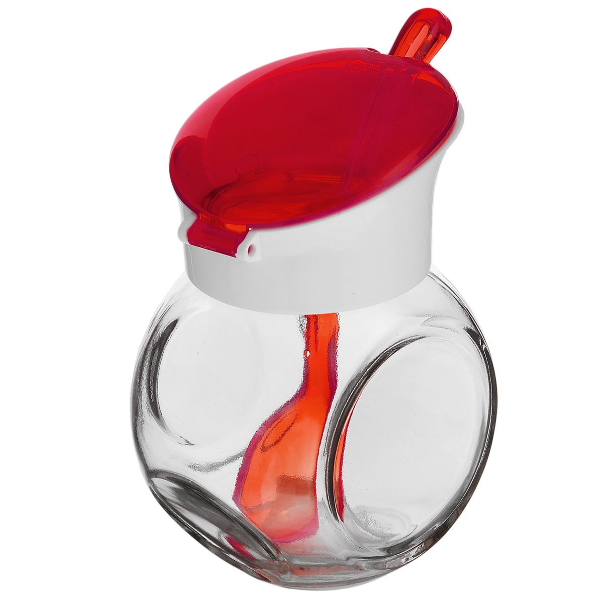 Емкость для соуса Herevin, с ложкой, цвет: красный, белый, 225 мл131004-000Емкость для соуса Herevin изготовлена из прочного стекла. Банка оснащена пластиковой откидной крышкой и ложкой. Изделие предназначено для хранения различных соусов. Функциональная и вместительная, такая банка станет незаменимым аксессуаром на любой кухне. Можно мыть в посудомоечной машине. Пластиковые части рекомендуется мыть вручную.Диаметр (по верхнему краю): 4,5 см.Высота банки (без учета крышки): 8 см.Длина ложки: 13 см.