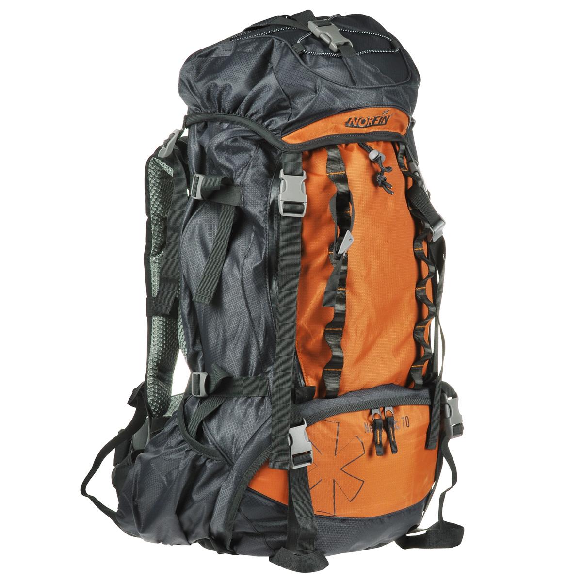 Рюкзак туристический Norfin NeweRest, цвет: серый, оранжевый, 70 лNS-40208Туристический функциональный 70-литровый рюкзак Norfin NeweRest отлично подойдет для походов и путешествий. Особенности рюкзака:Анатомический съемный пояс. Отлично сидит на бедрах, хорошо перераспределяет нагрузкуРегулируемая подвесная система AL-R Грудная стяжка Алюминиевые латы Выход под питьевую систему Основное отделение с разделителем на молнии позволит удобно распределить содержимое рюкзака Помимо верхнего и нижнего входов в основное отделение, по всей передней части рюкзака проходит молния, которая раскрывает его как чемодан.Нижние боковые карманы для фиксирования длинномерных грузов имеют боковые стяжки Плавающий верхний клапан с внешним и внутренним карманамиЧехол-дождевик в кармане на дне Возможность крепления трекинговых палок.Что взять с собой в поход?. Статья OZON Гид