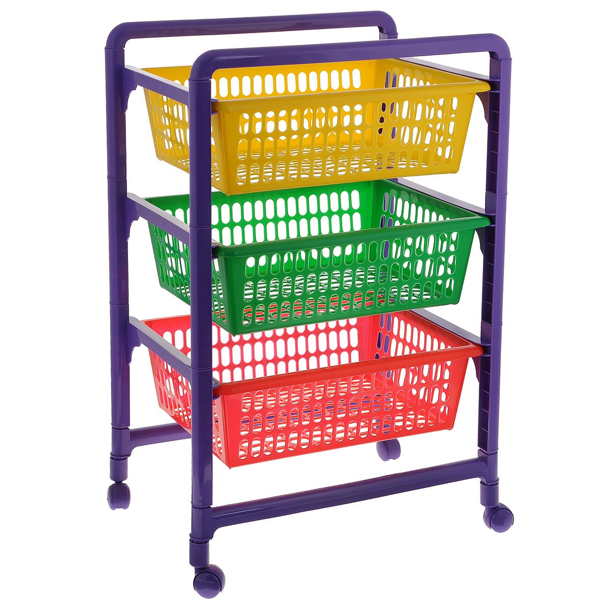 Контейнер для игрушек Малыш, 3-х секционный, на колесиках, с выдвижными полками, 45 x 31,1 x 66,2 смС460Контейнер Малыш, выполненный из высококачественного пластика, предназначен для хранения игрушек. Состоит из трех перфорированных секций разного цвета. Вместительные выдвижные полки позволят компактно хранить детские игрушки, а также защитят их от пыли, грязи и влаги.Контейнер оснащен колесиками, поэтому его очень легко двигать.Размер в сложенном виде: 45 см х 31,1 см х 18 см. Размер в собранном виде: 45 см x 31,1 см x 66,2 см. Размер корзинки: 49,5 см x 30 см x 12 см.