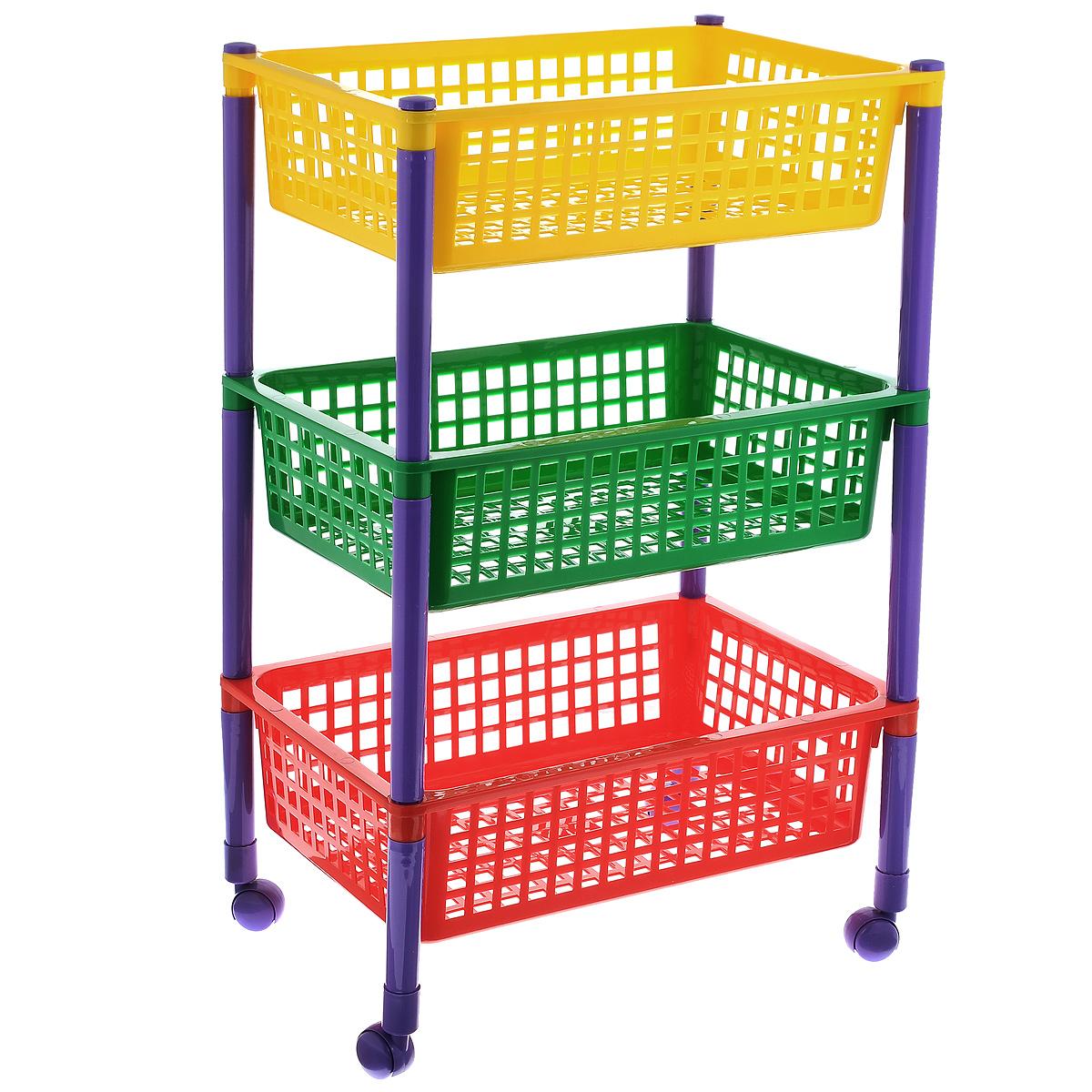 """Контейнер """"Малыш"""", выполненный из высококачественного пластика, предназначен для хранения игрушек. Контейнер состоит из трех перфорированных секций разного цвета. Вместительные полки позволят компактно хранить детские игрушки, а также защитят их от пыли, грязи и влаги. Контейнер оснащен колесиками, поэтому его очень легко двигать.  Размер в сложенном виде: 44 см х 31 см х 20 см. Размер в собранном виде: 44 см x 31 см x 70 см. Размер корзинки: 44 см x 31 см x 12 см."""