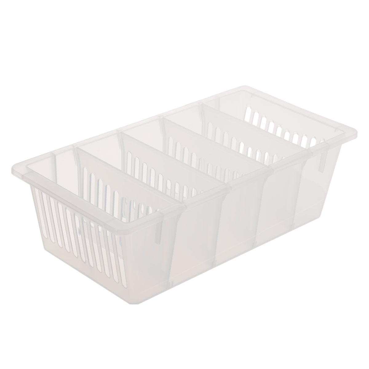 """Контейнер для специй """"Полимербыт"""", изготовленный из высококачественного прочного полипропилена, оснащен переставными перегородками. Стенки контейнера снабжены высокими бортиками. Контейнер с пятью отделениями внутри идеально подходит для хранения различных специй в пакетиках.  Практичный контейнер пригодится в любом хозяйстве и поможет аккуратно хранить все приправы.Размер отделения: 12,5 см х 5 см х 8,5 см."""