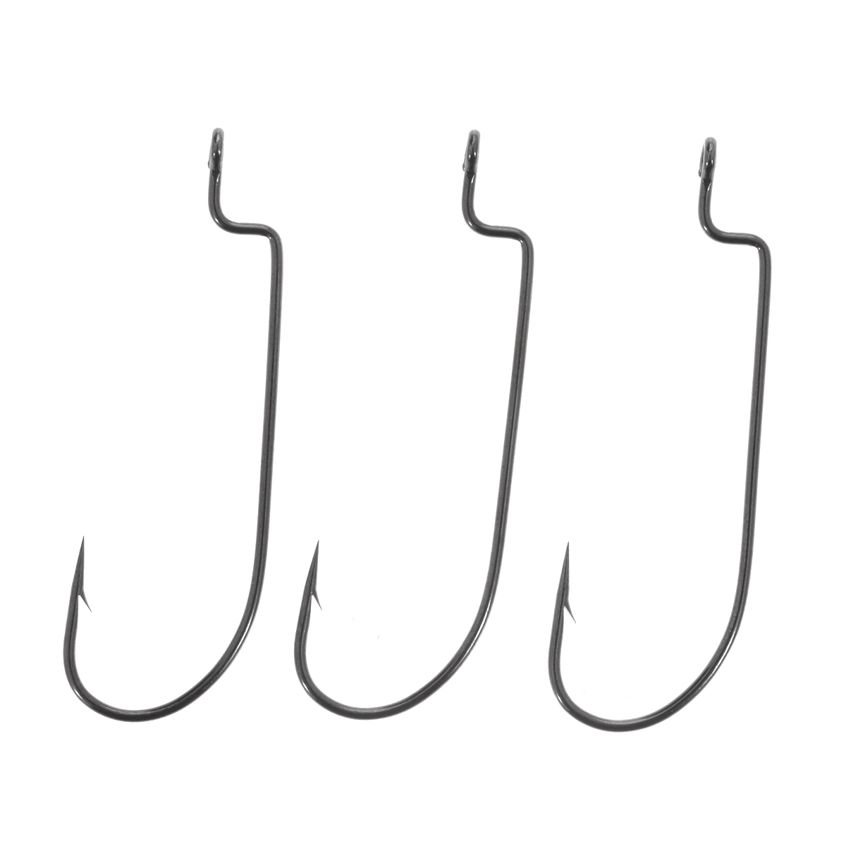 Крючки рыболовные офсетные Cobra L-worm, цвет: черный, размер 3/0, 3 шт