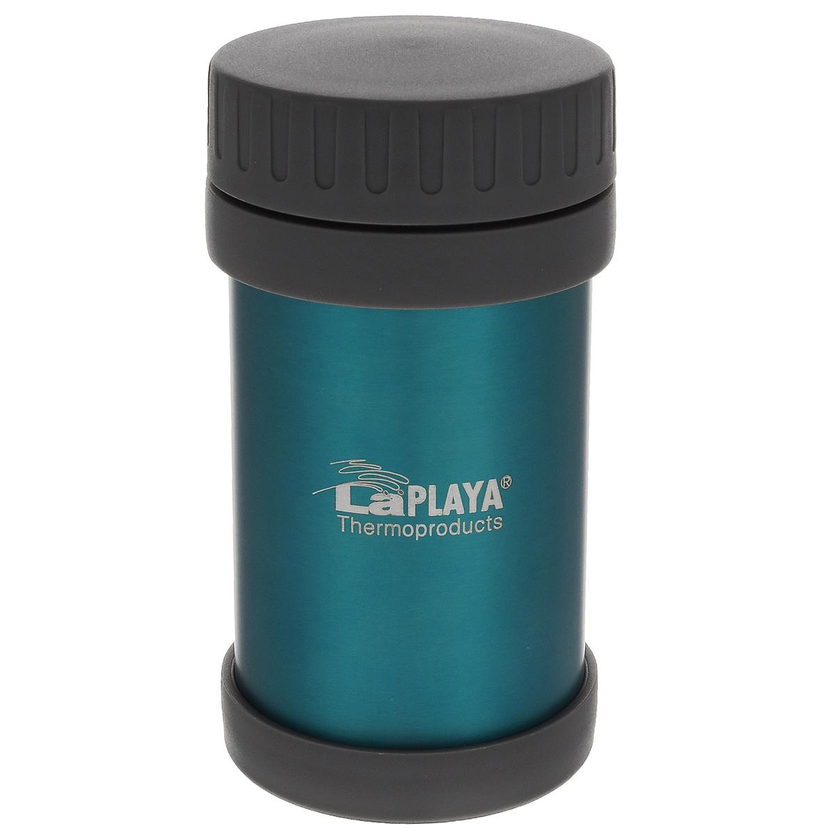 Термос LaPlaya JMG, цвет: бирюзовый, 500 мл560031Термос LaPlaya JMG изготовлен из высококачественной нержавеющей стали 18/8 и пластика. Термос с двухстеночной вакуумной изоляцией, предназначенный для хранения горячих и холодных продуктов, сохраняет их до 6 часов горячими и холодными в течении 8 часов. Термос очень легкий, имеет широкое горло и закрывается герметичной крышкой.Идеально подходит для напитков, а также первых и вторых блюд.Высота: 16,5 см.Диаметр горлышка: 7 см.