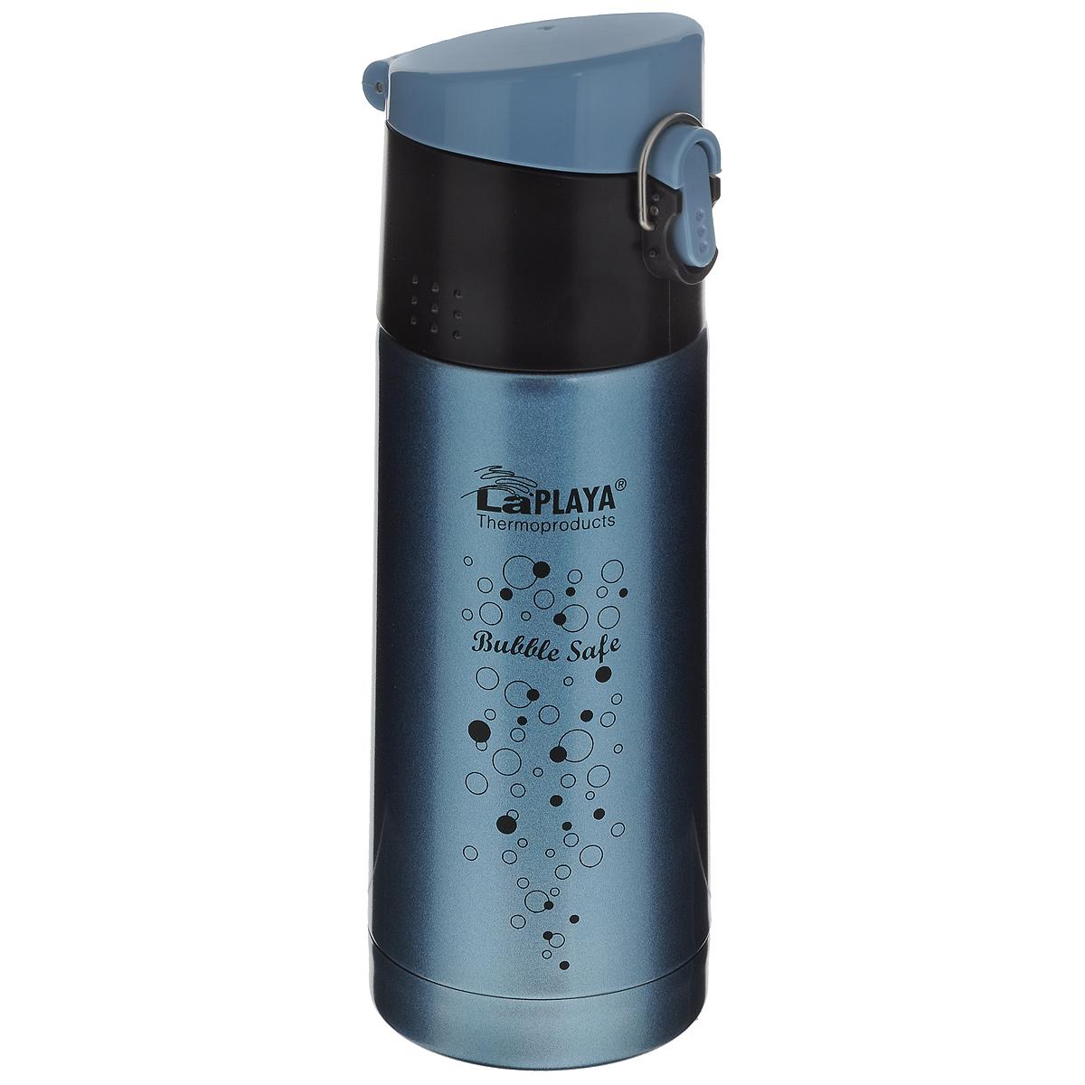 """Термос с узким горлом LaPlaya """"Bubble Safe"""", изготовленный из высококачественной нержавеющей стали 18/8, является простым в использовании, экономичным и многофункциональным. Термос с двухстеночной вакуумной изоляцией, предназначенный для хранения горячих и холодных напитков (чая, кофе), сохраняет их до 6 часов горячими и холодными в течении 12 часов. Идеально подойдет для прохладительных газированных напитков. Герметичная и гигиеничная пробка-крышка открывается одной рукой. При открывании стопор предотвращает резкий выход газов и расплескивание напитков. Термос удобно размещать в большинстве автомобильных держателей. Легкий и прочный термос LaPlaya """"Bubble Safe"""" сохранит ваши напитки горячими или холодными надолго.Высота: 20,5 см.Диаметр горлышка: 4,5 см."""