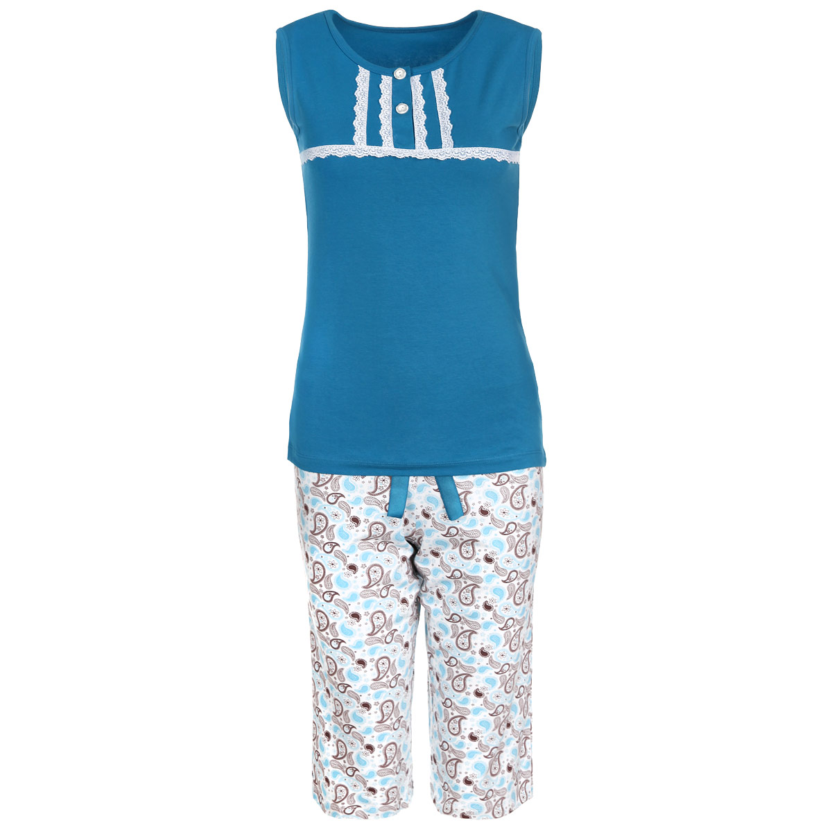 Пижама женская Milana Style, цвет: бирюзовый, белый. 634. Размер L (48)634Женская пижама Milana Style состоит из майки и бридж. Пижама выполнена из приятного на ощупь хлопкового материала. Майка и бриджи не сковывают движения и позволяют коже дышать. Майка прямого кроя с круглым вырезом горловины и без рукавов, на груди застегивается на две пуговки. Майка декорирована кружевной тесьмой. Прямые свободные бриджи на широкой эластичной резинке оформлены оригинальным принтом и атласным бантиком на талии. Идеальные конструкции и приятное цветовое решение - отличный выбор на каждый день. В такой пижаме вам будет максимально комфортно и уютно.