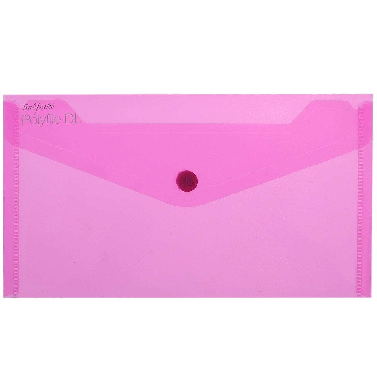 Папка-конверт на кнопке Snopake Polifile DL: Electra, цвет: розовый, формат А5K10035